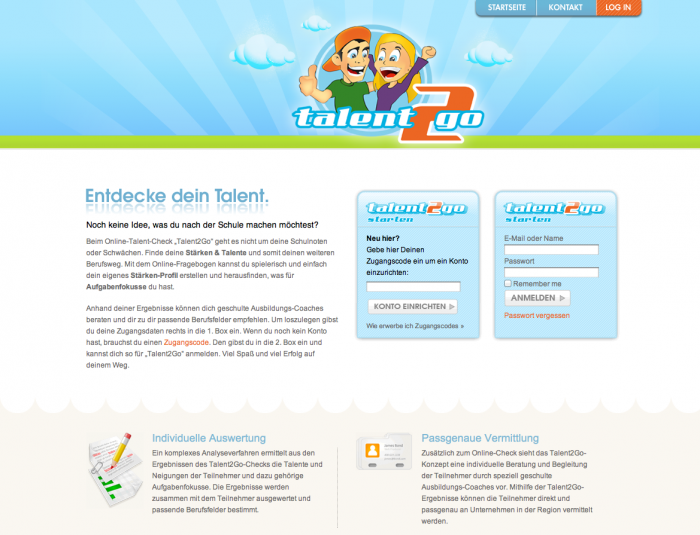 Talent2Go Webseite