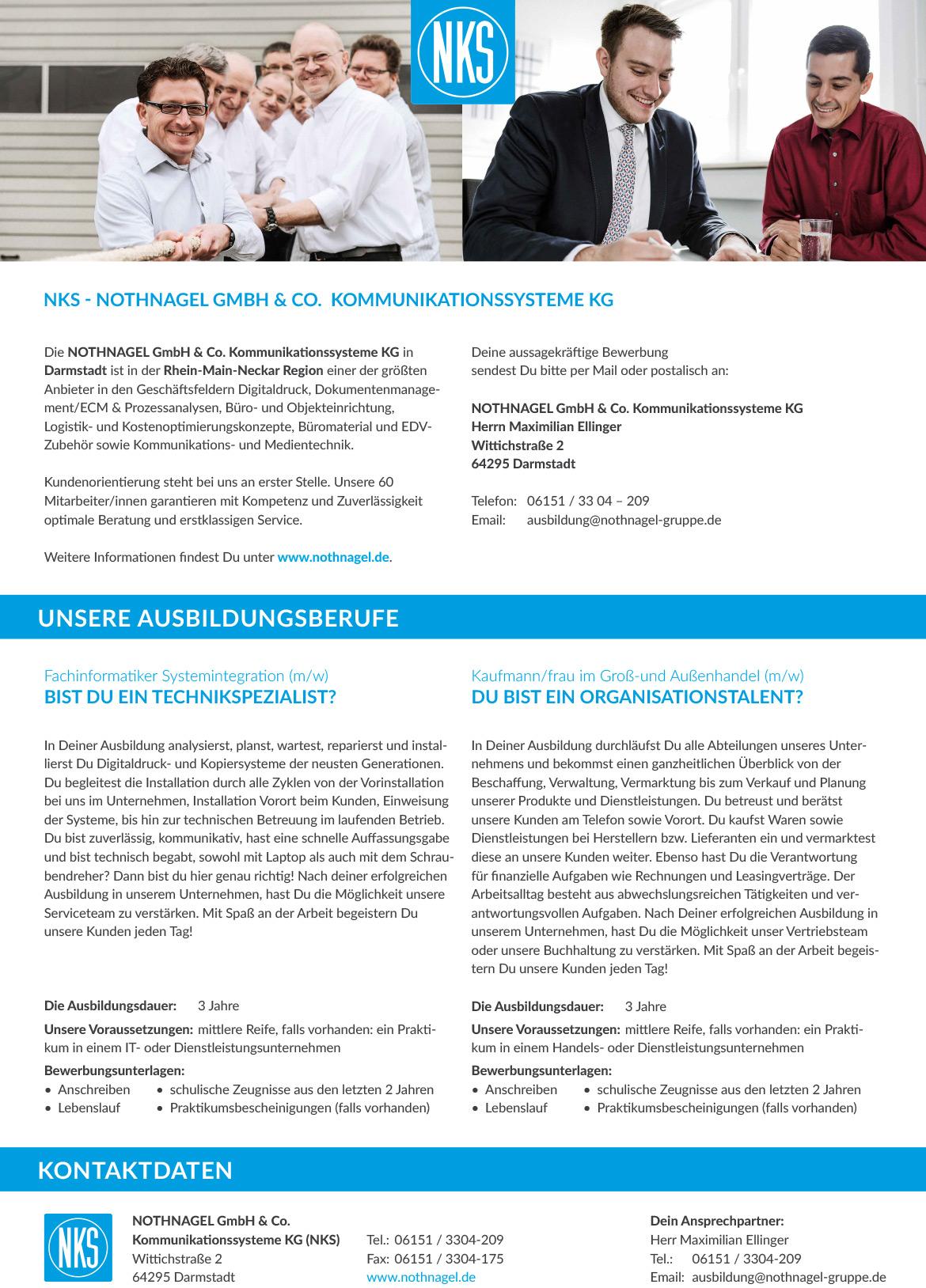 Ausbildungsplakat: NOTHNAGEL GmbH & Co. Kommunikationssysteme KG