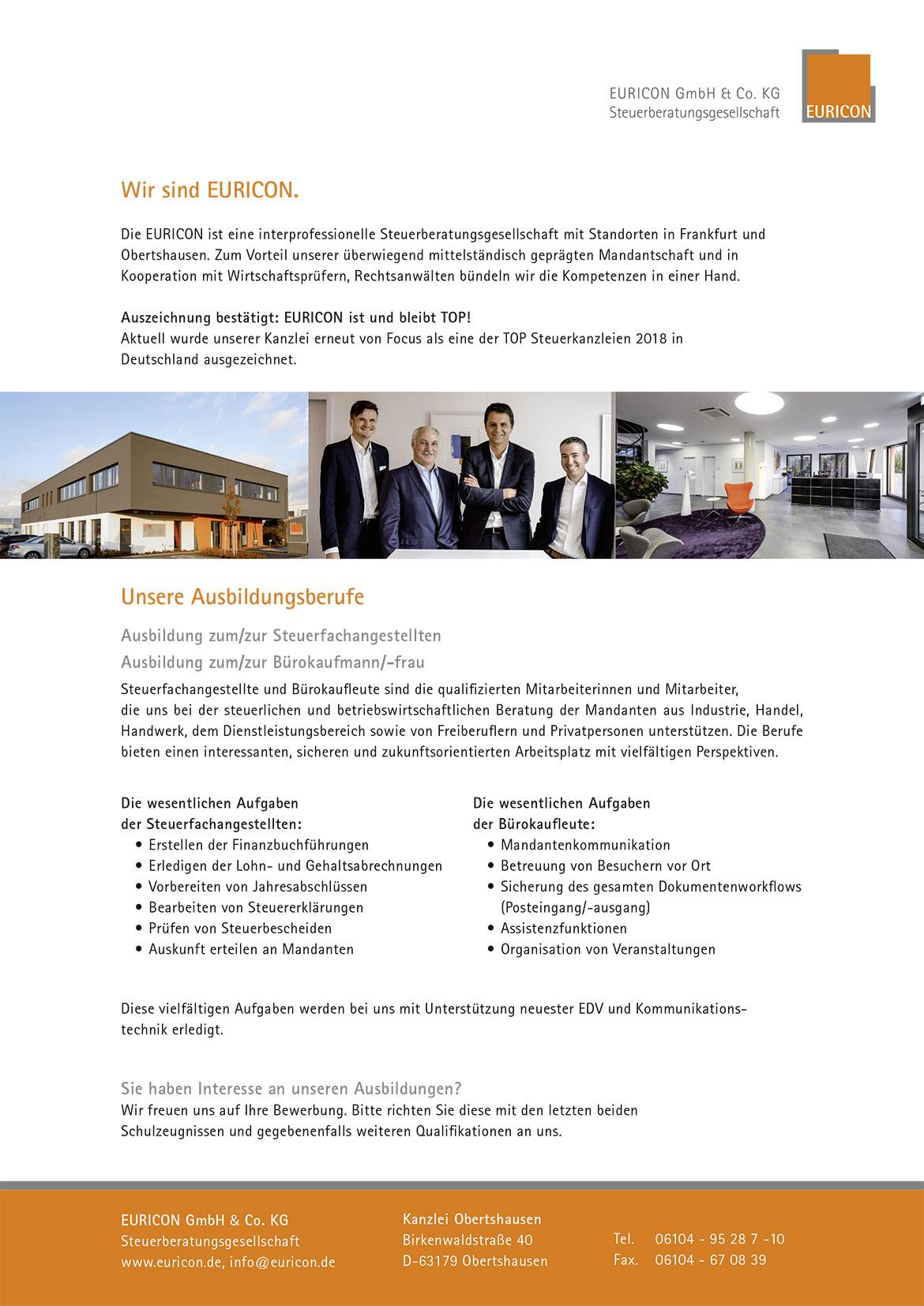 Ausbildungsplakat: EURICON GmbH & Co. KG