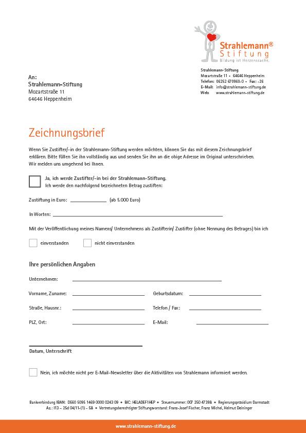 Zeichnungsbrief (Stiftung)