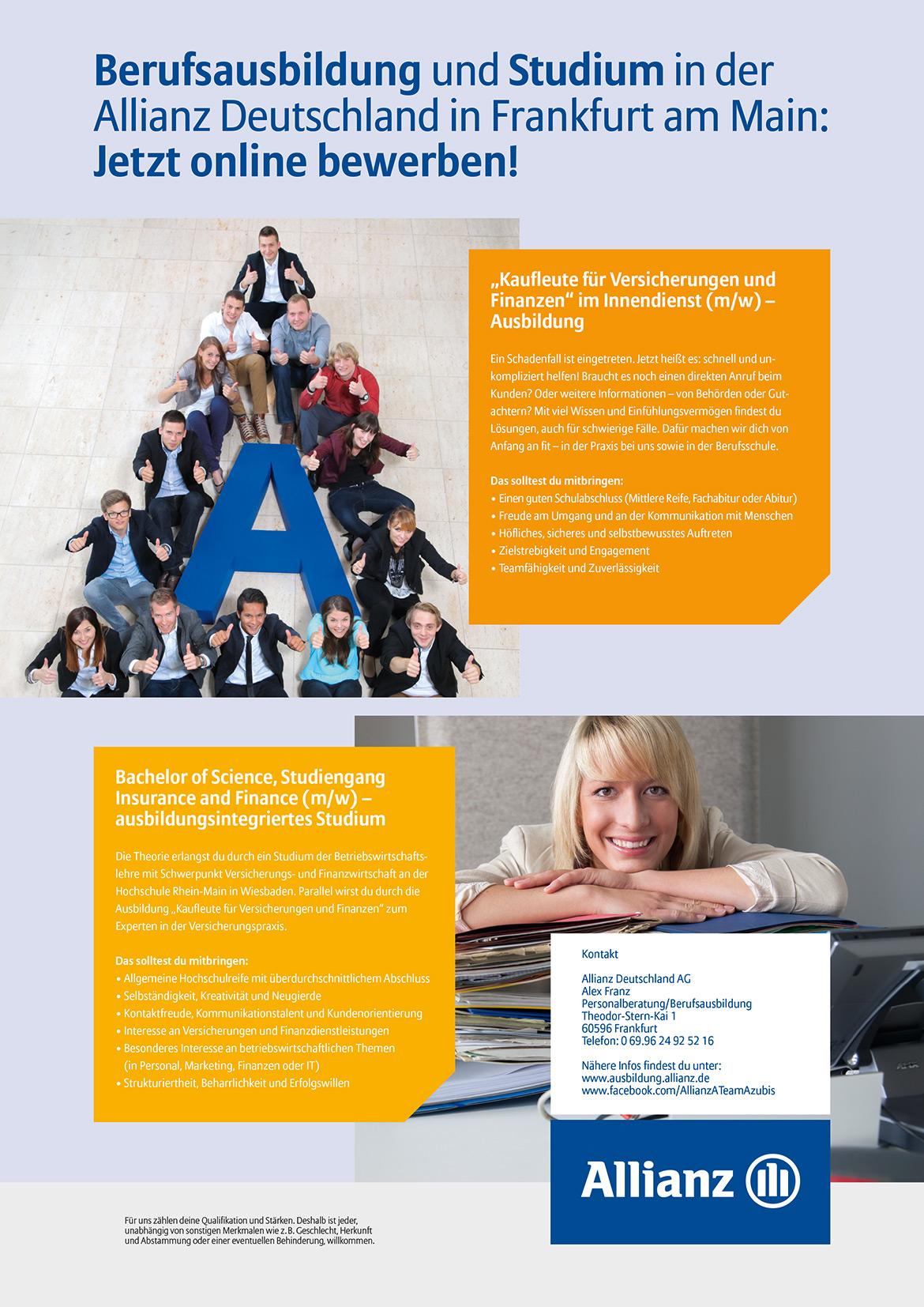 Ausbildungsplakat: Allianz Deutschland AG