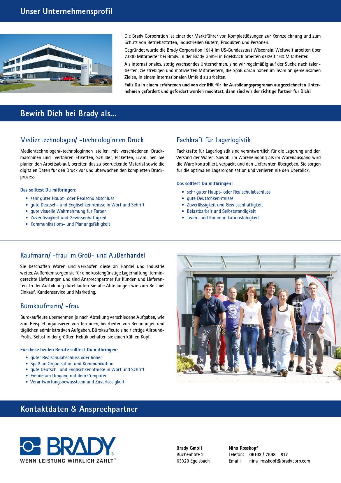 Ausbildungsplakat: Brady GmbH