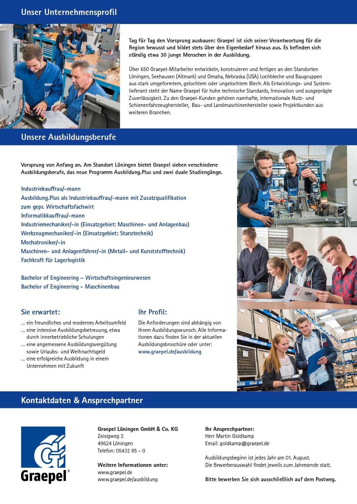Ausbildungsplakat: Graepel Löningen GmbH & Co. KG