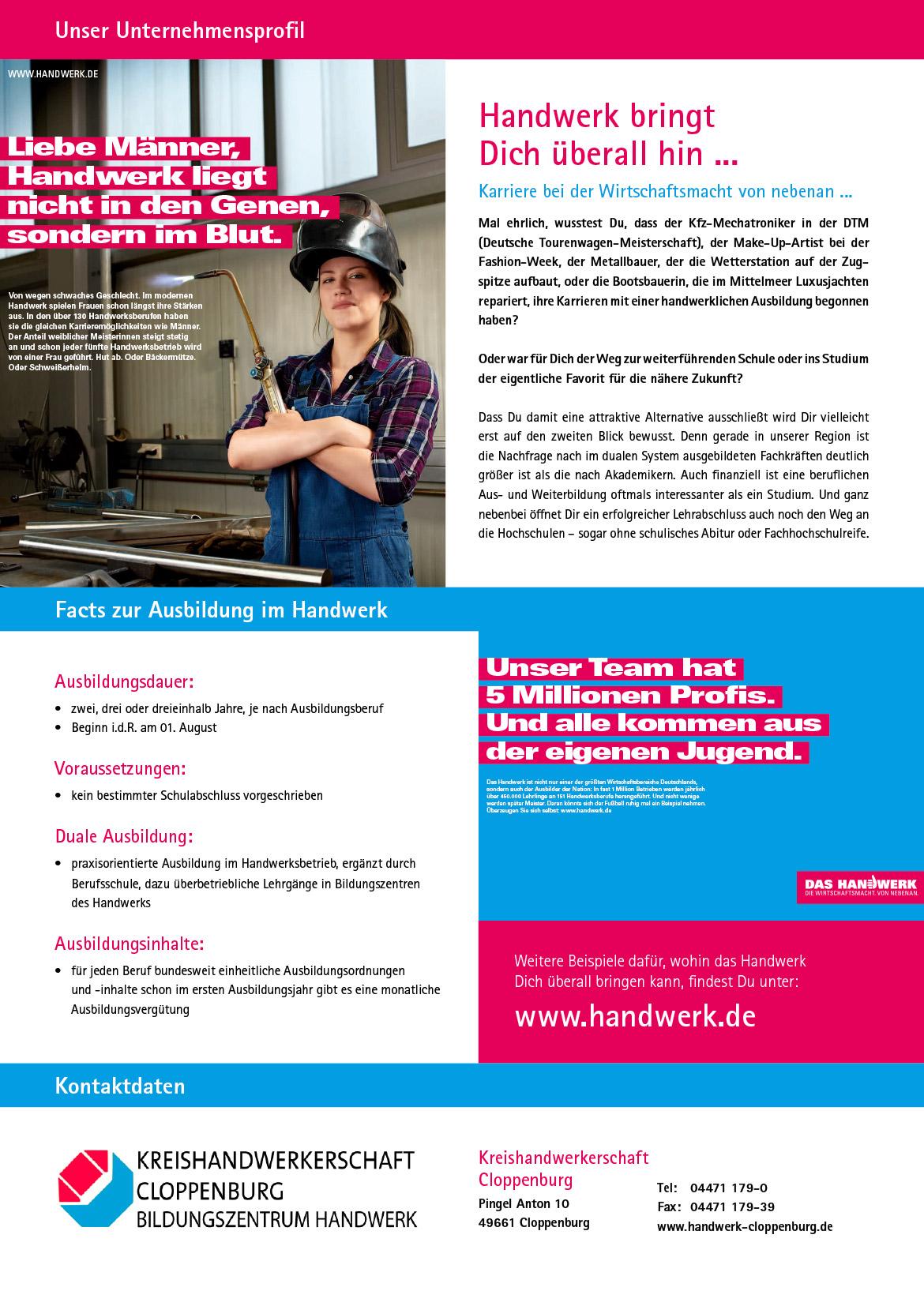Ausbildungsplakat: Kreishandwerkerschaft Cloppenburg