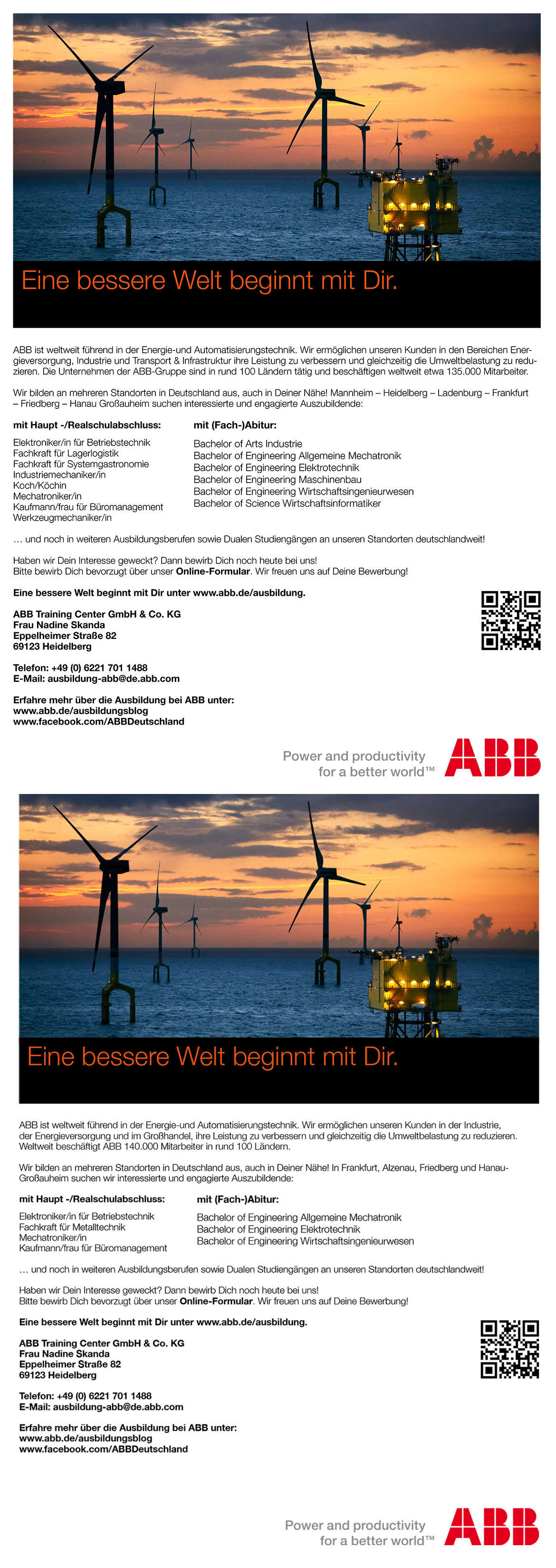 Ausbildungsplakat: ABB Training Center GmbH & Co. KG