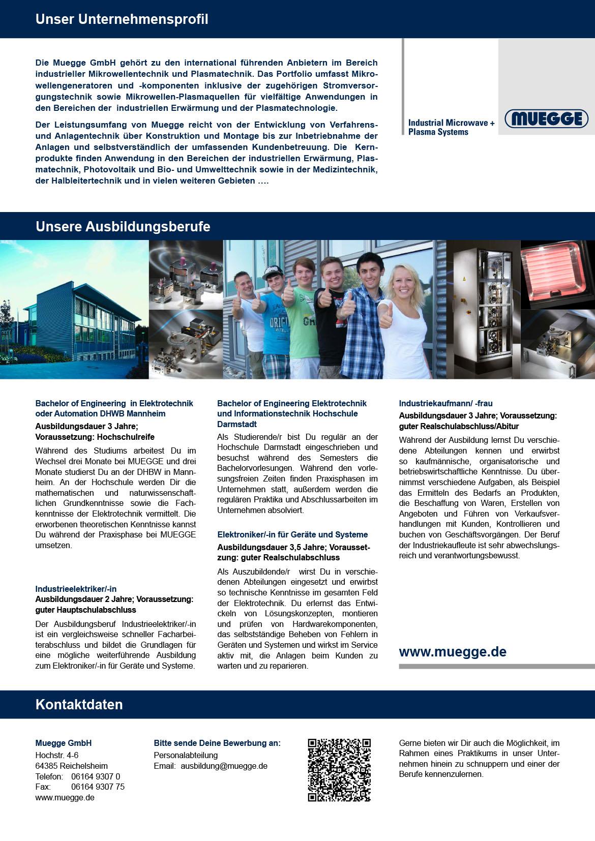Ausbildungsplakat: Muegge GmbH