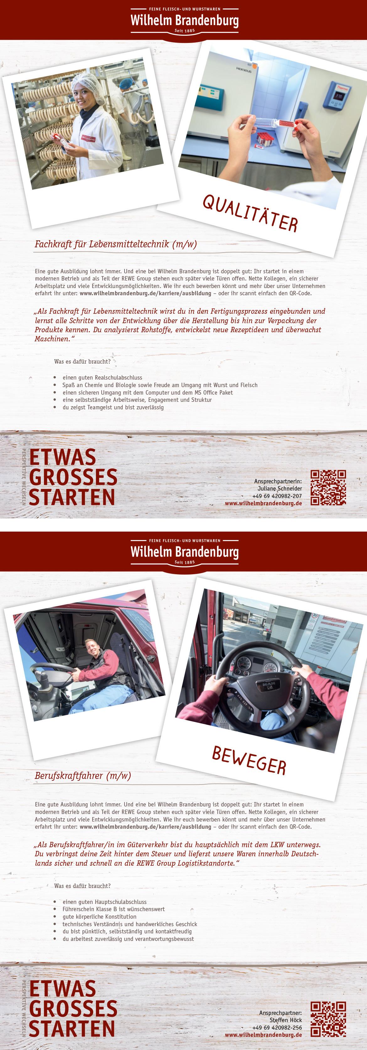 Ausbildungsplakat: Wilhelm Brandenburg GmbH & Co. oHG
