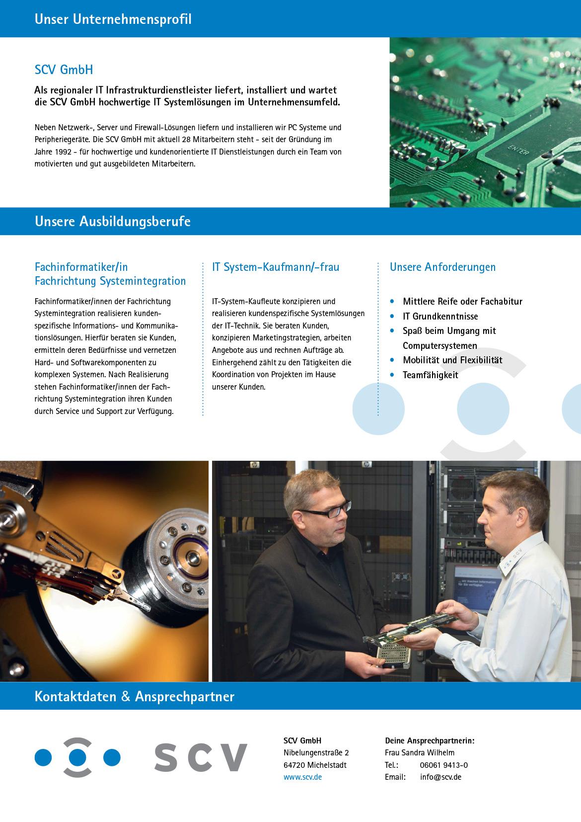 Ausbildungsplakat: SCV GmbH