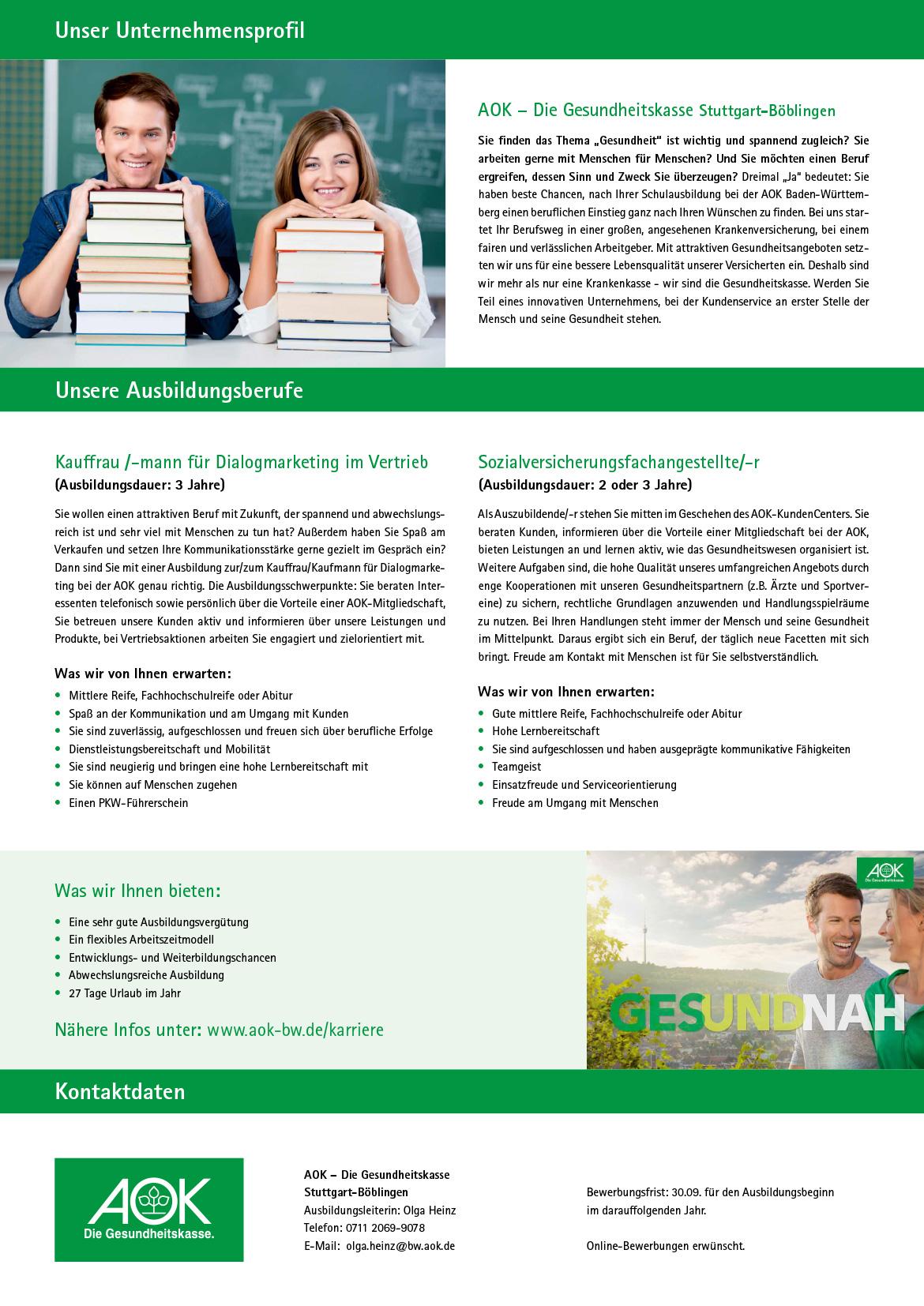 Ausbildungsplakat: AOK – Die Gesundheitskasse Stuttgart-Böblingen