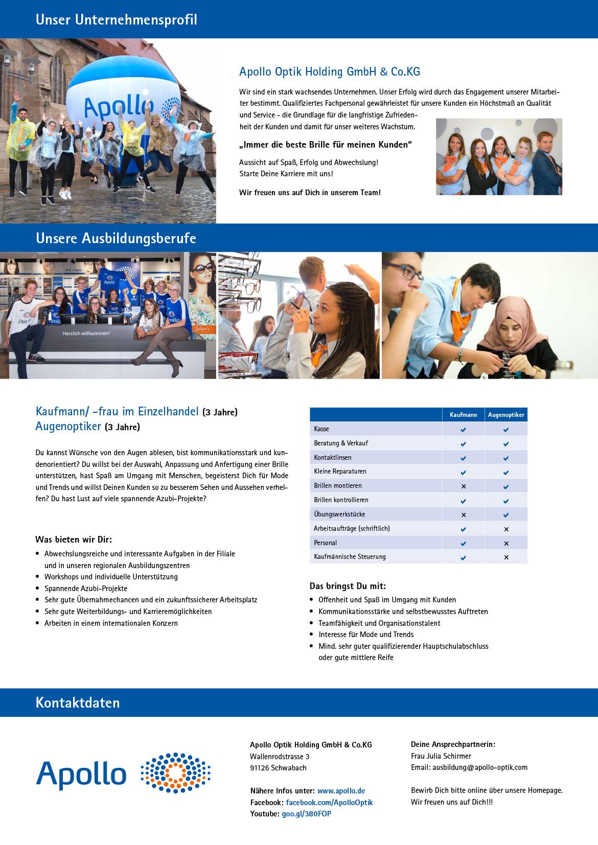 Ausbildungsplakat: Apollo Optik Holding GmbH & Co.KG