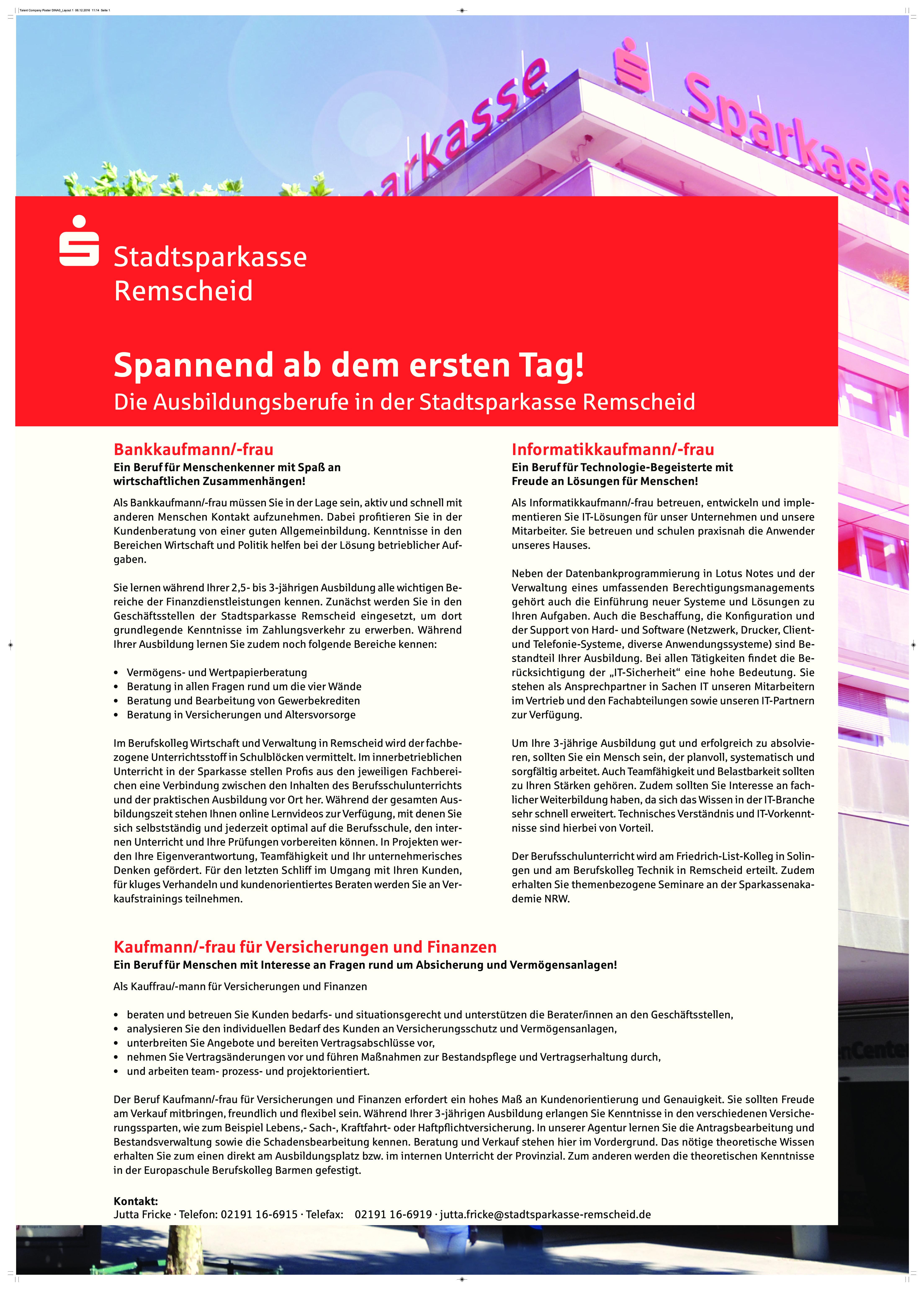 Ausbildungsplakat: Stadtsparkasse Remscheid