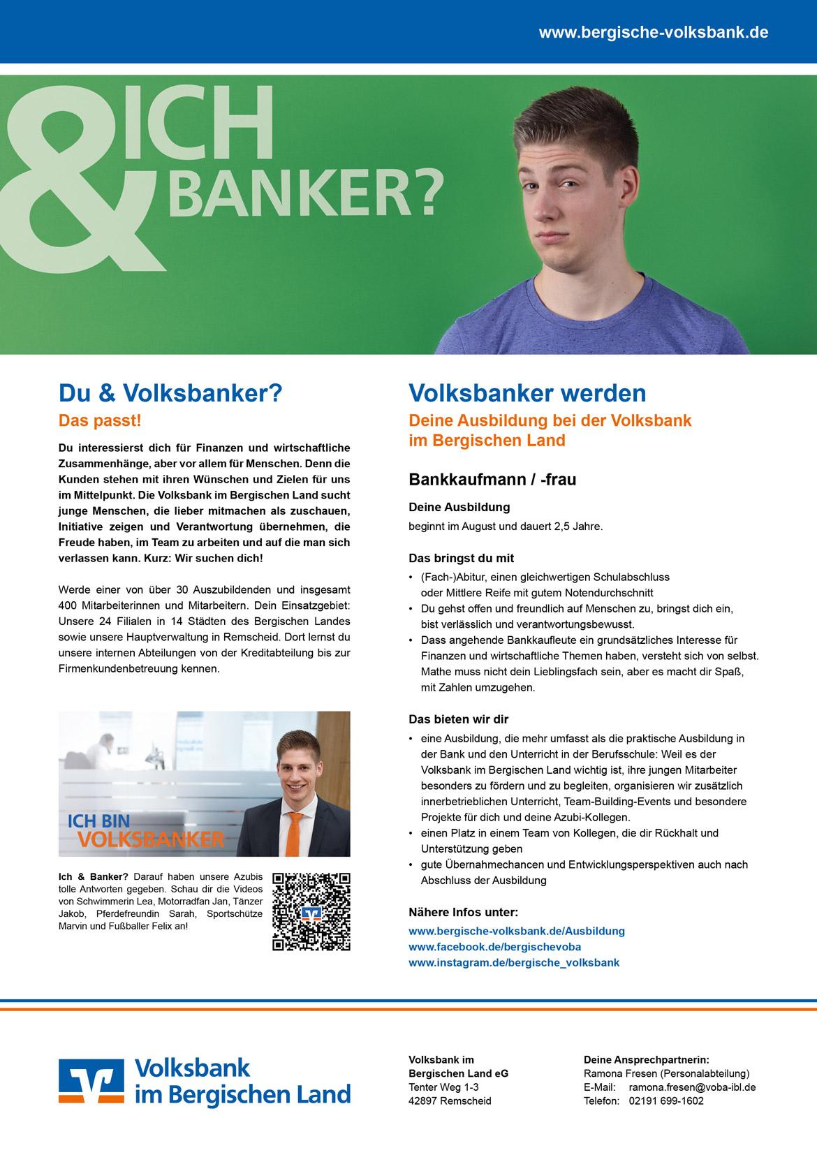 Ausbildungsplakat: Volksbank im Bergischen Land eG