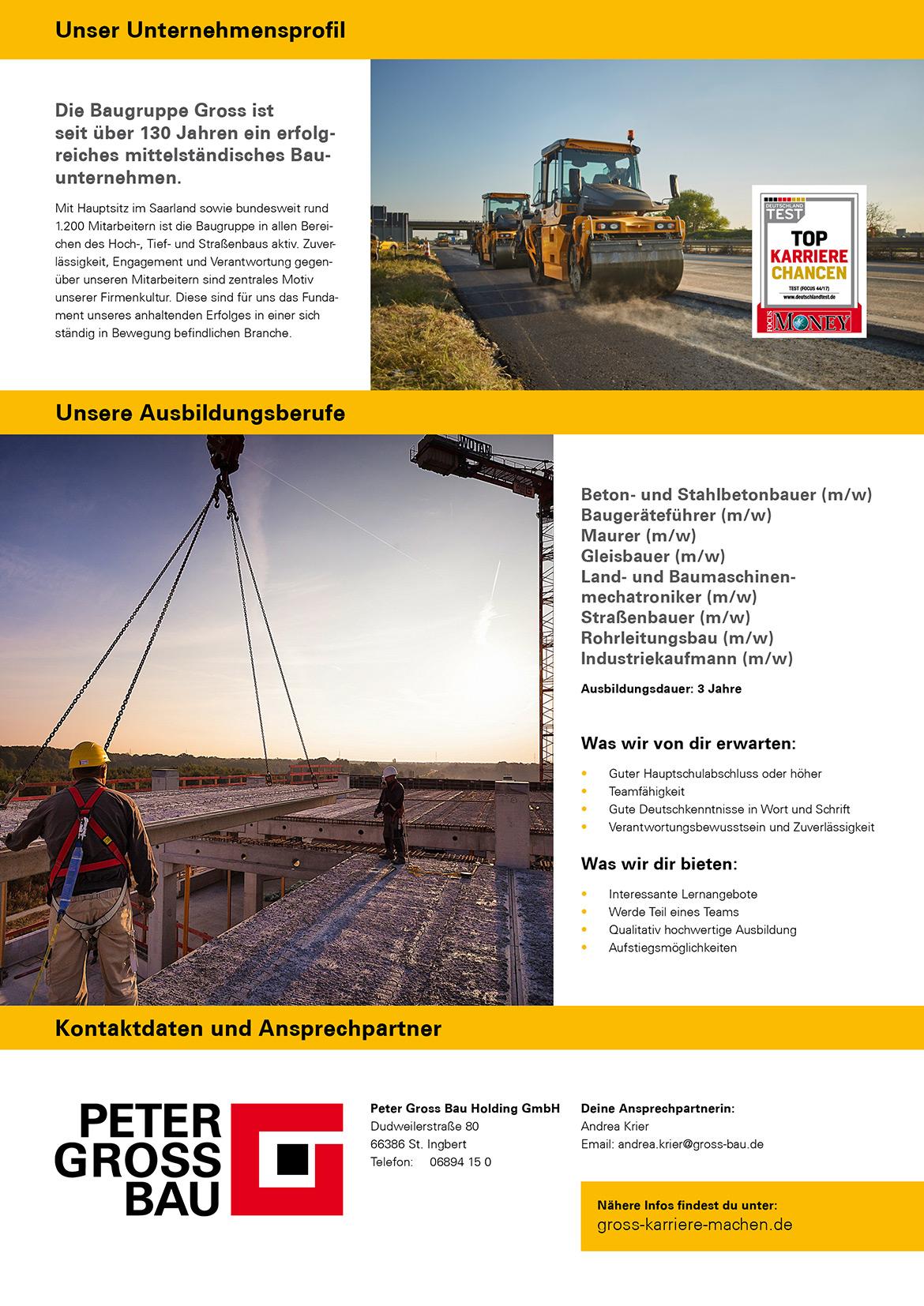 Ausbildungsplakat: Peter Gross Bau Holding GmbH