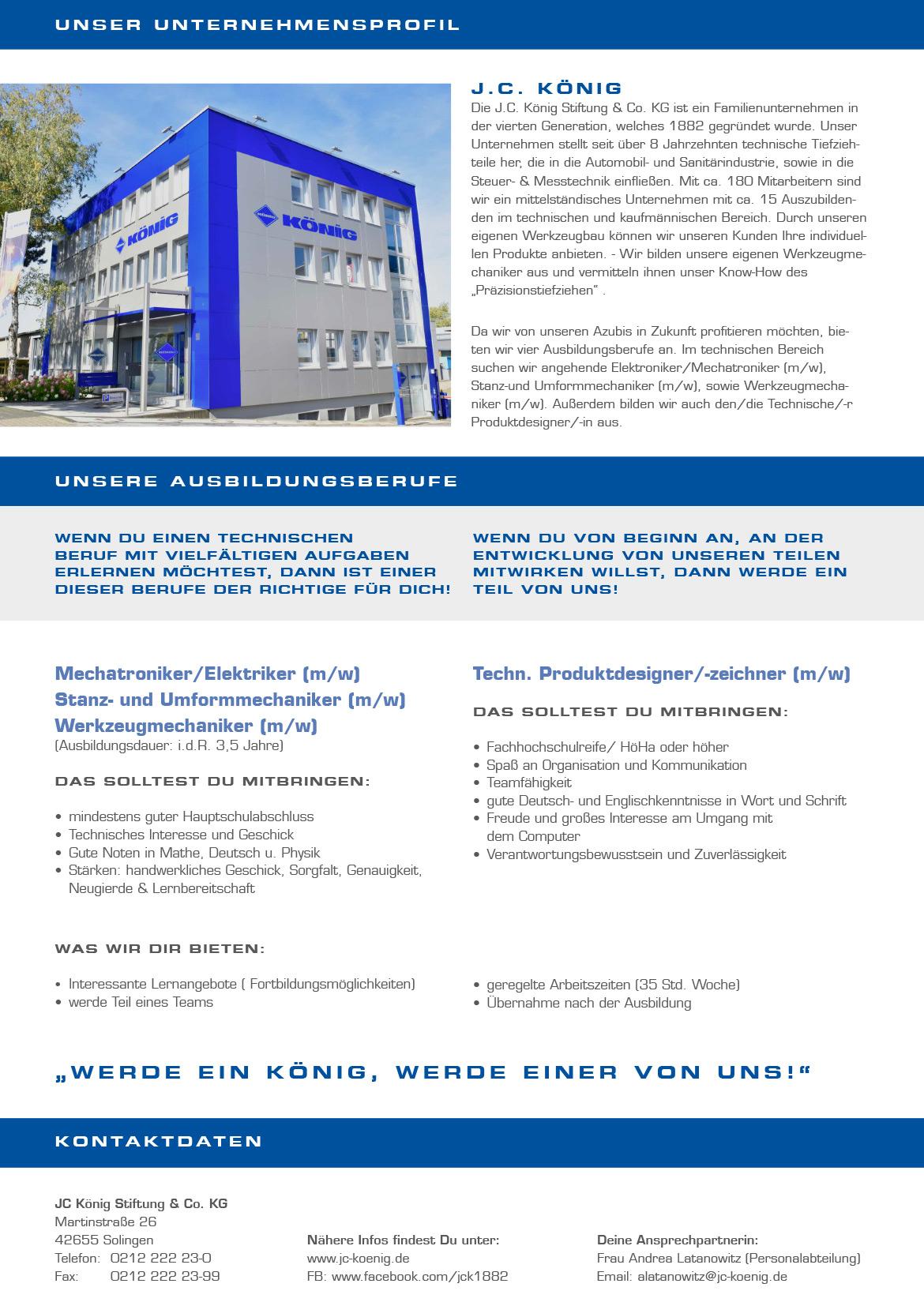 Ausbildungsplakat: JC König Stiftung & Co. KG