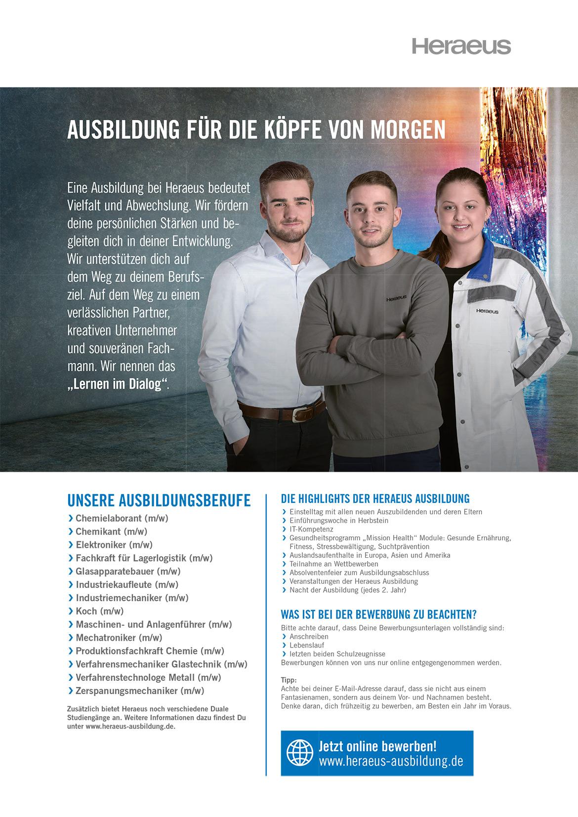 Ausbildungsplakat: Heraeus Holding GmbH