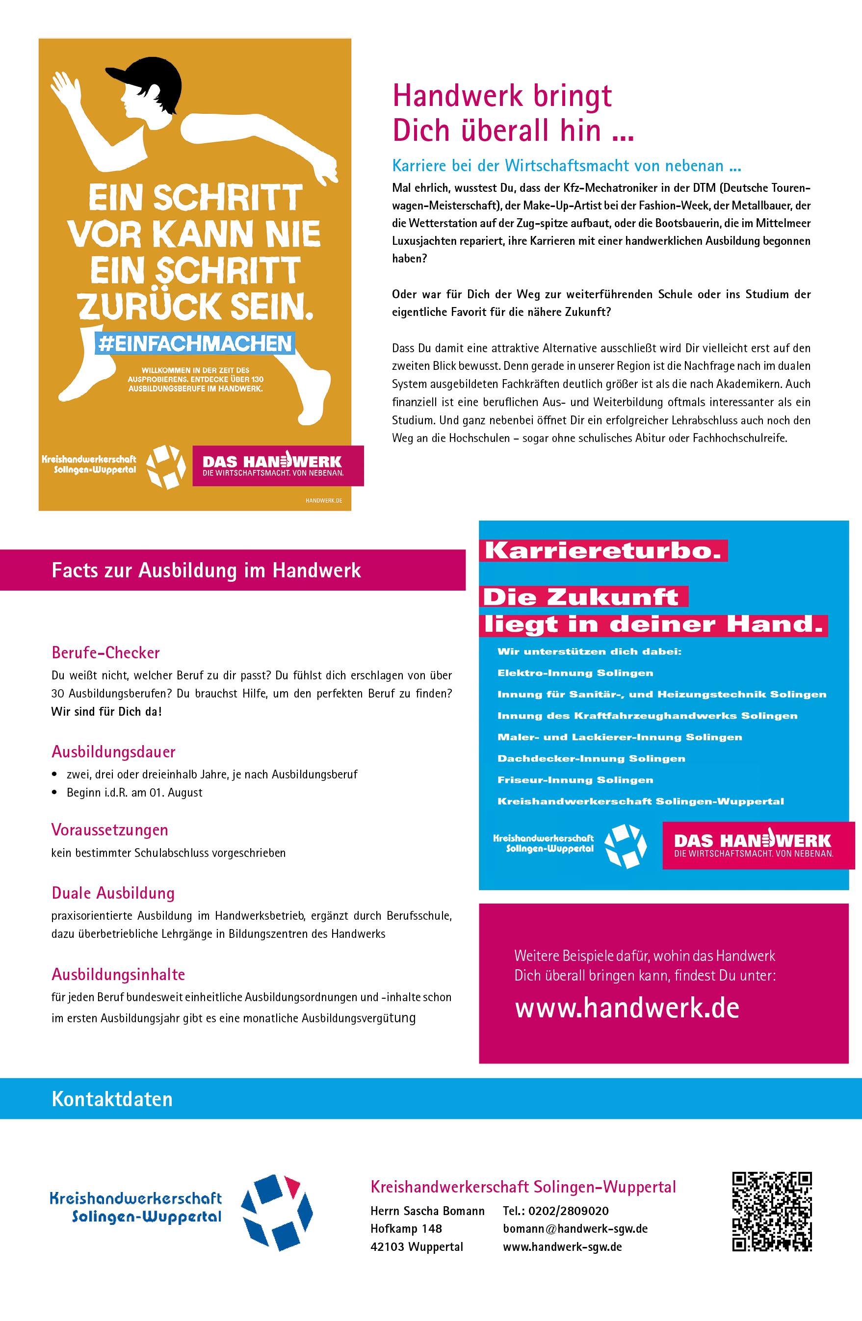 Ausbildungsplakat: Kreishandwerkerschaft Solingen-Wuppertal