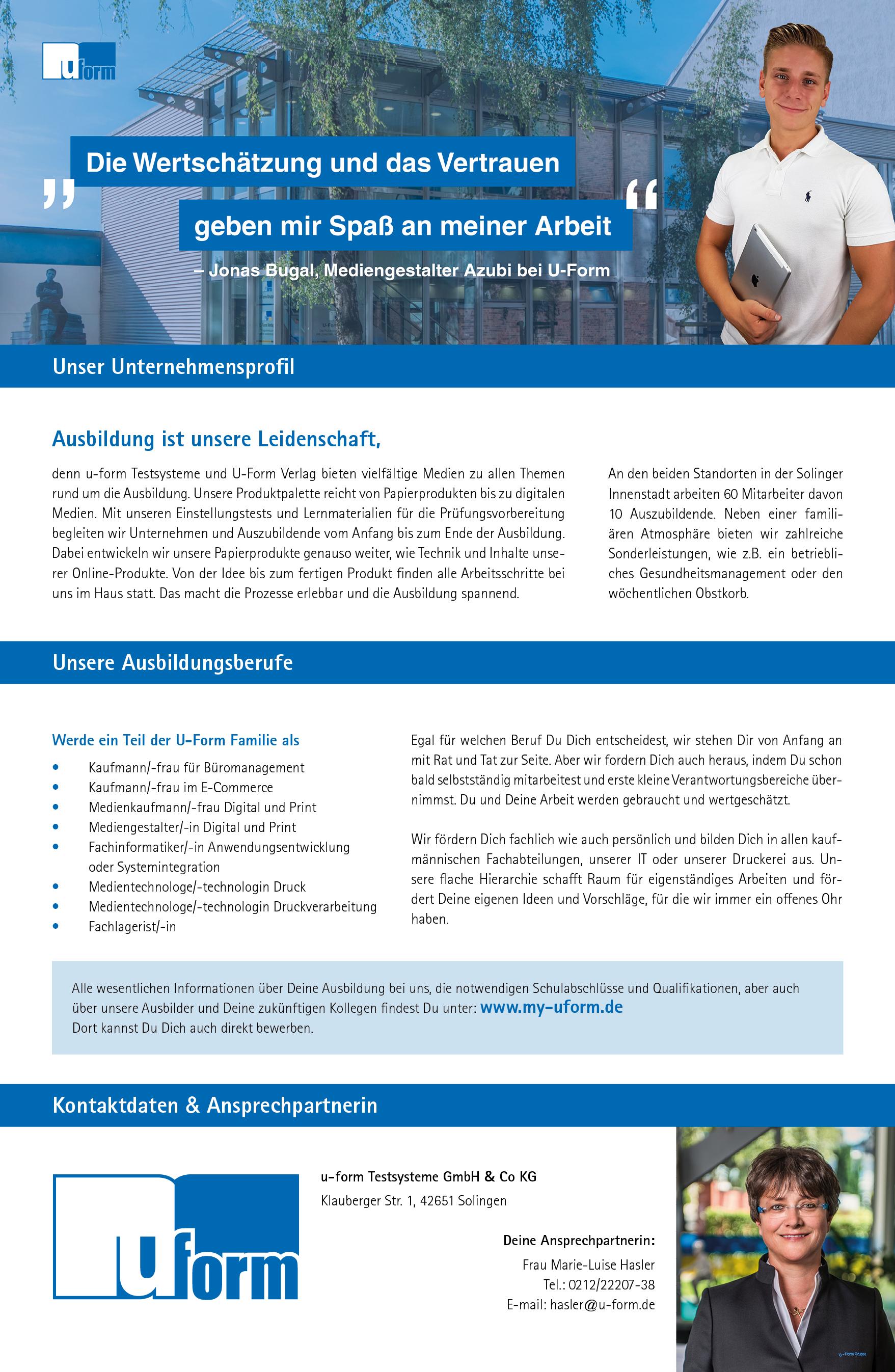 Ausbildungsplakat: u-form Testsysteme GmbH & Co KG