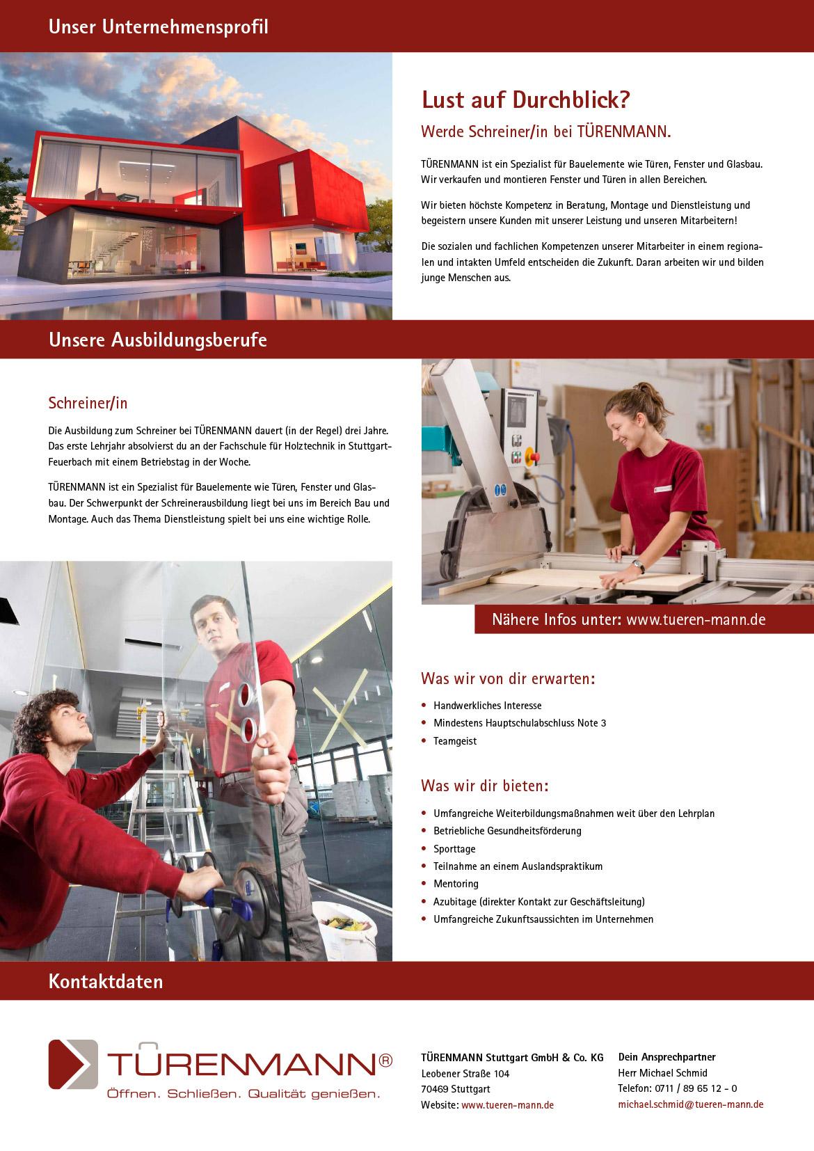 Ausbildungsplakat: TÜRENMANN Stuttgart GmbH & Co. KG