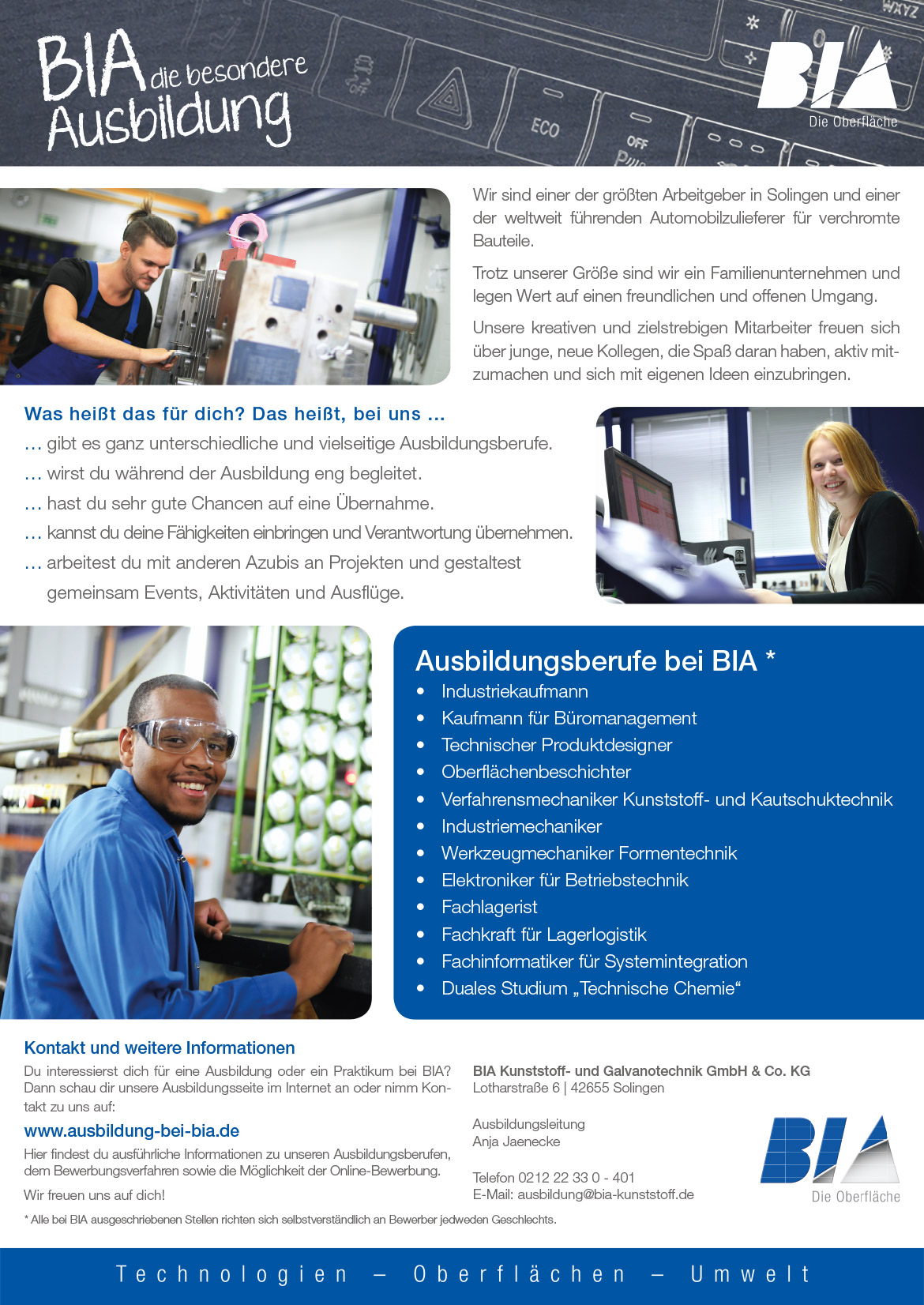 Ausbildungsplakat: BIA Kunststoff- und Galvanotechnik