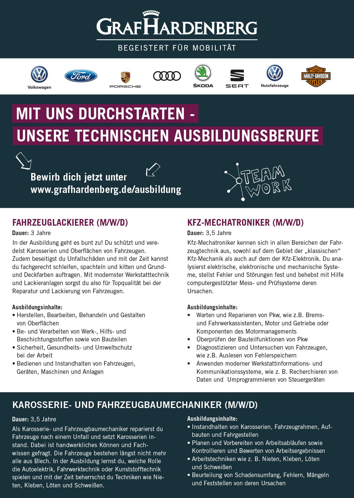 Ausbildungsplakat: Volkswagen Zentrum Karlsruhe GmbH (Hardenberg Gruppe)