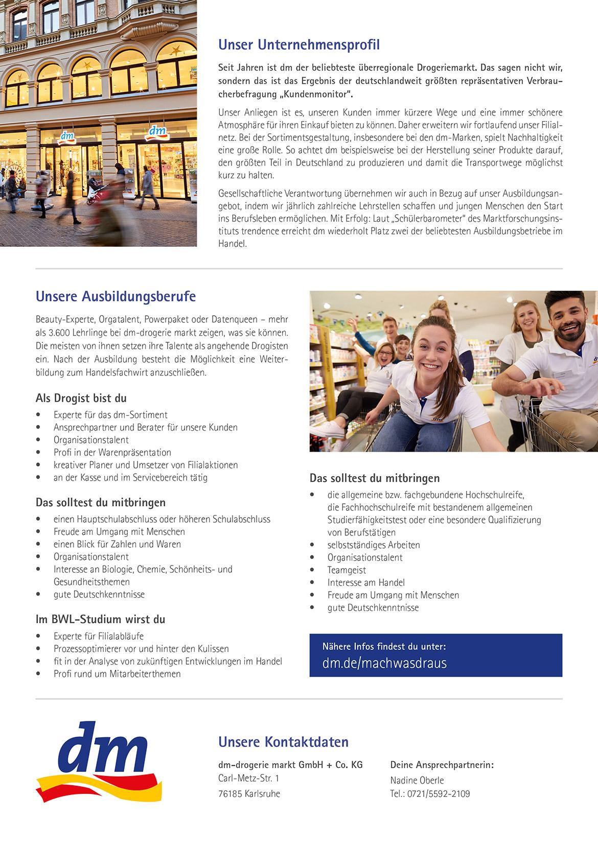 Ausbildungsplakat: dm-drogerie markt Karlsruhe