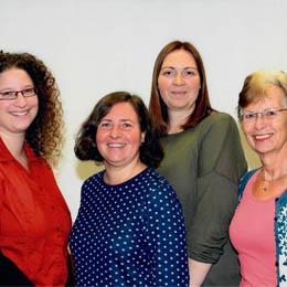 Verena Teschner (Jobfux), Birgit Merling (Hauptschullehrerin), Frau Sandra Kissel (Realschullehre-rin) & Frau Gabriele Schnefel-Selbach (Gymnasiallehrerin) -