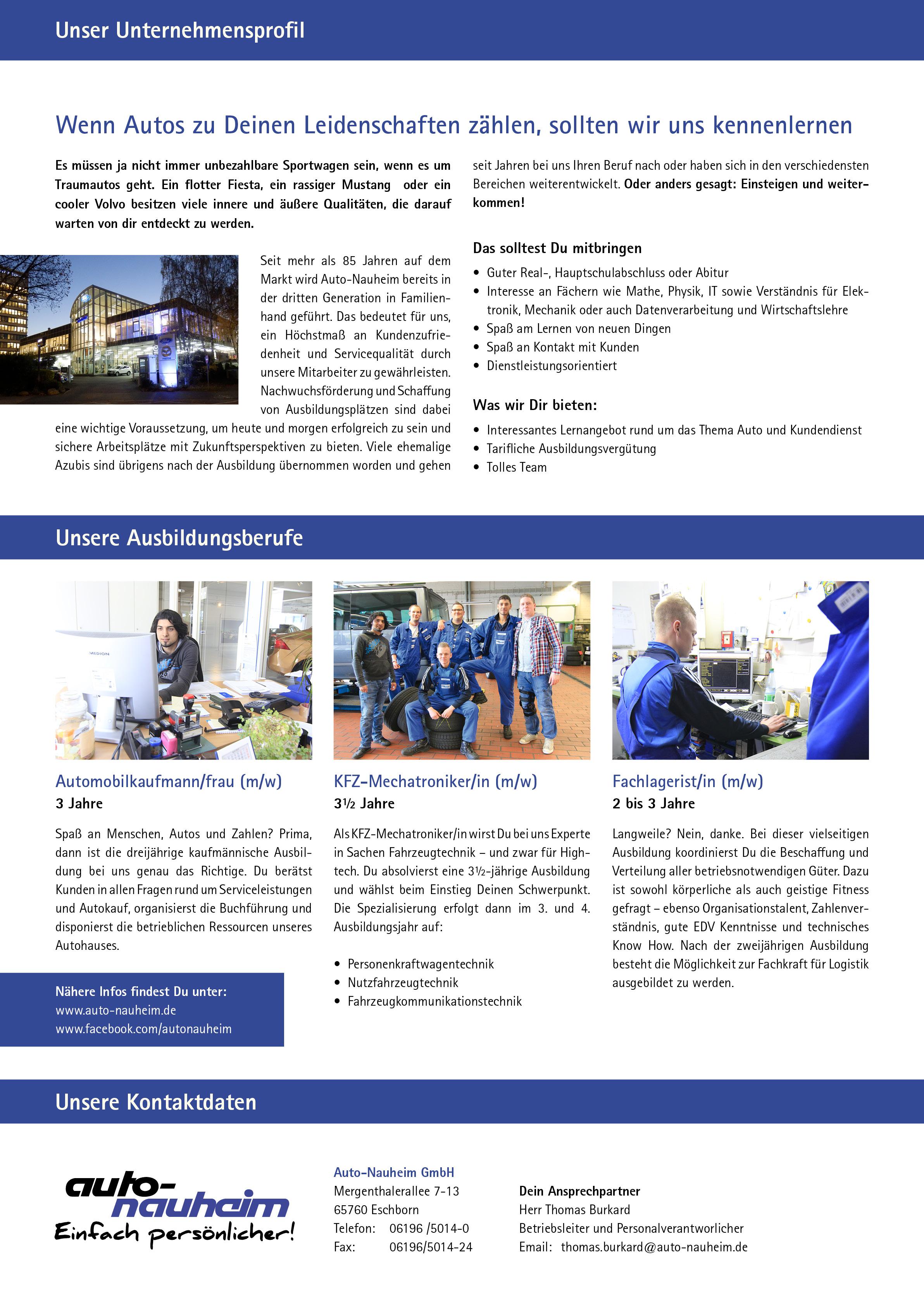 Ausbildungsplakat: Auto-Nauheim GmbH