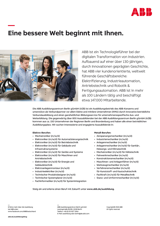 Ausbildungsplakat: ABB Ausbildungszentrum Berlin gGmbH