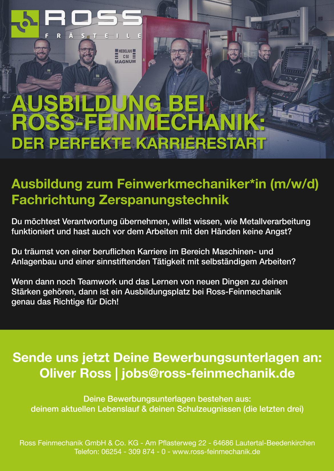 Ausbildungsplakat: Ross Feinmechanik GmbH & CO. KG
