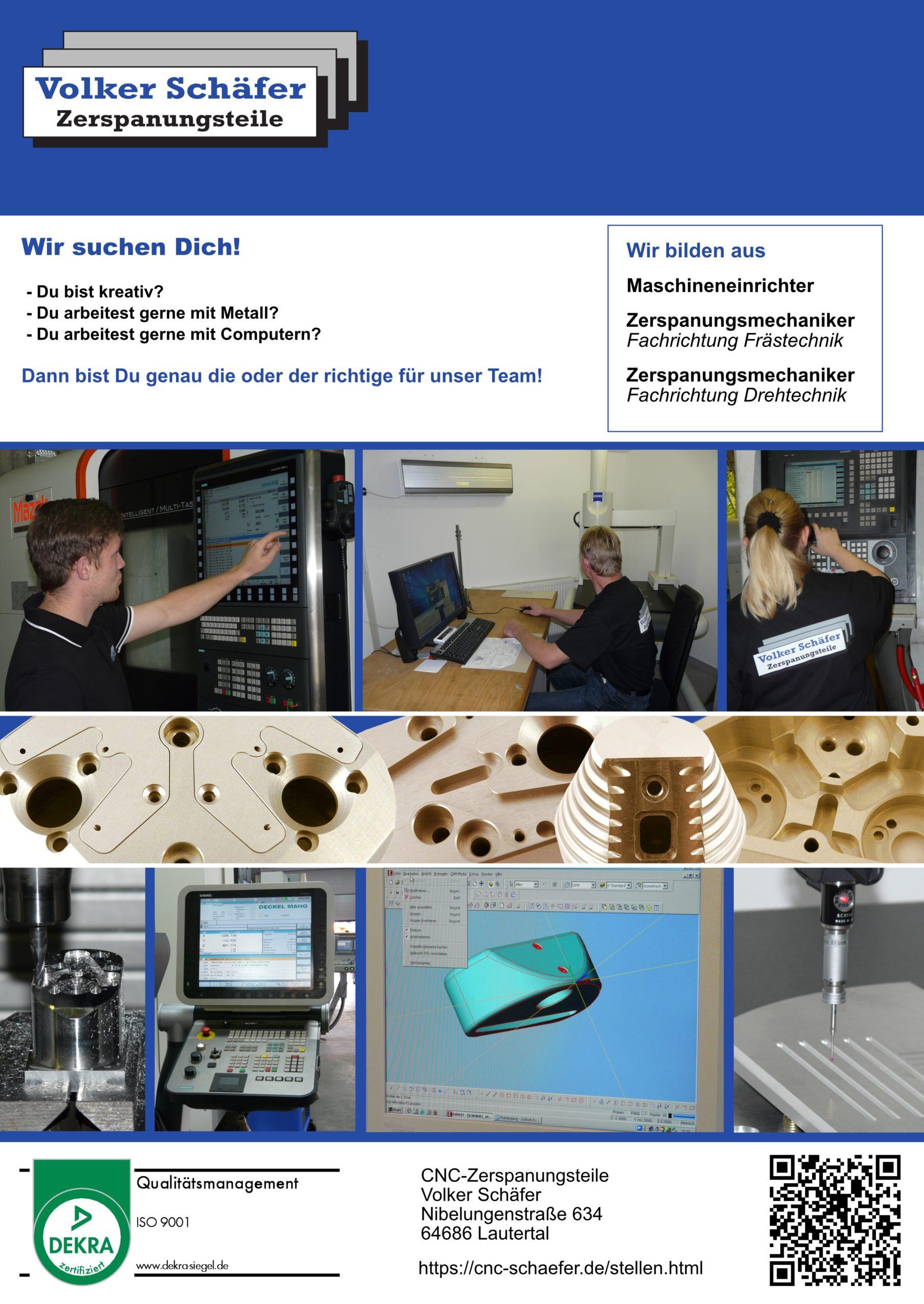 Ausbildungsplakat: CNC-Zerspanungsteile