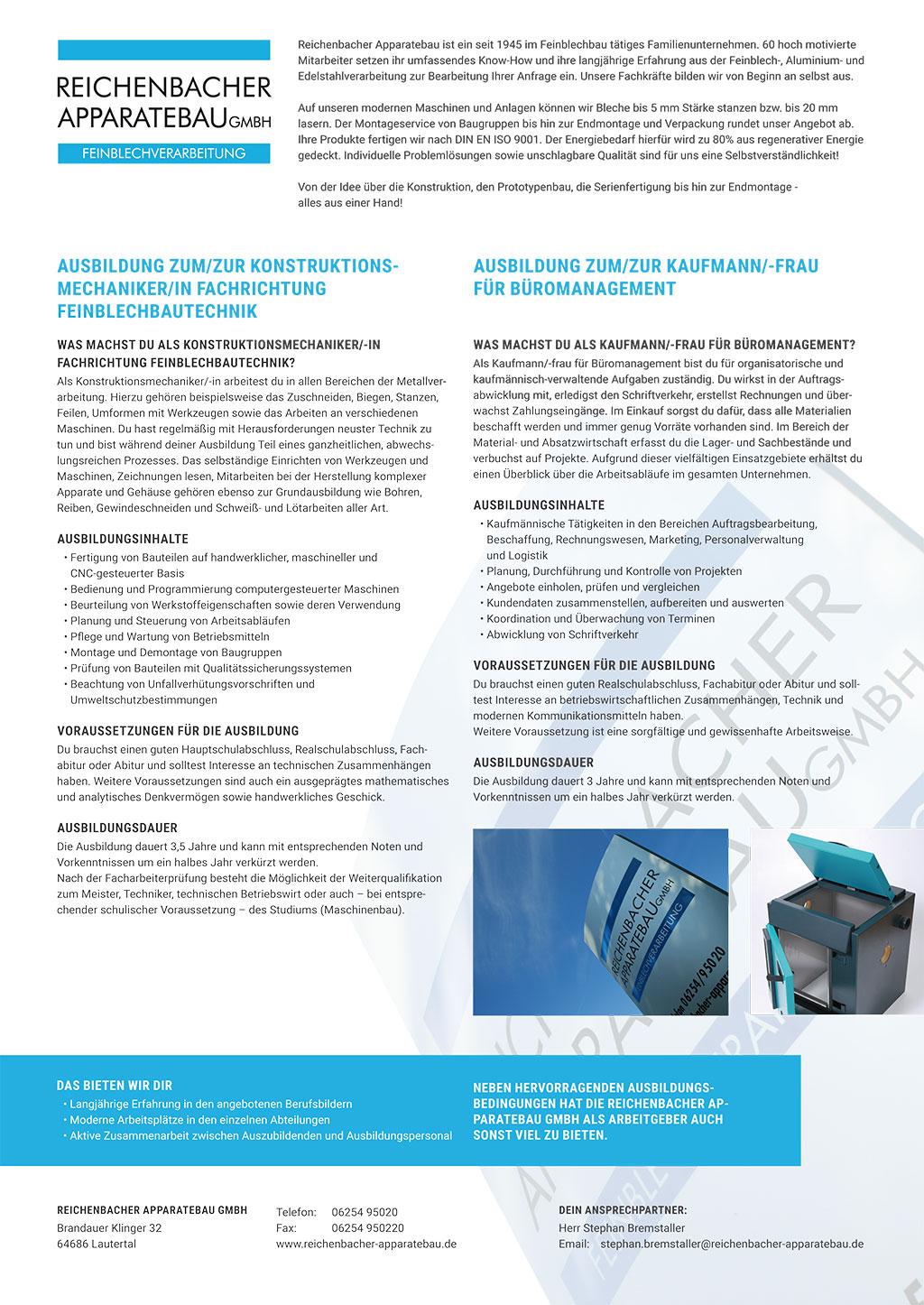 Ausbildungsplakat: Reichenbacher Apparatebau GmbH