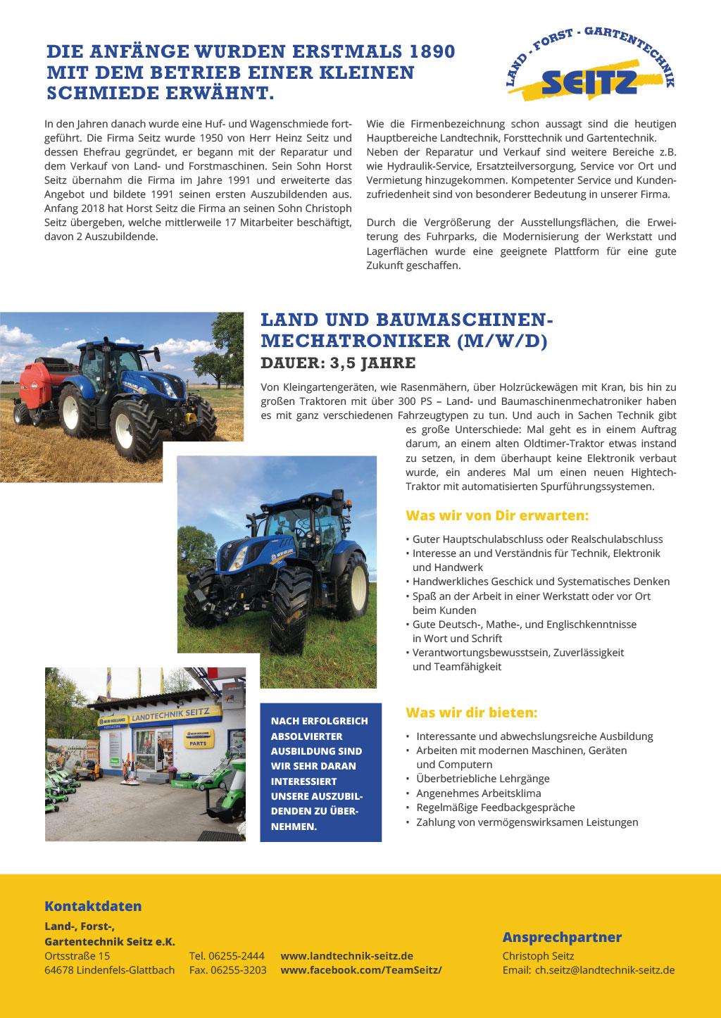 Ausbildungsplakat: Land-, Forst,- Gartentechnik Seitz e.K.