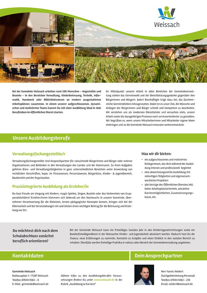 Ausbildungsplakat: Gemeinde Weissach