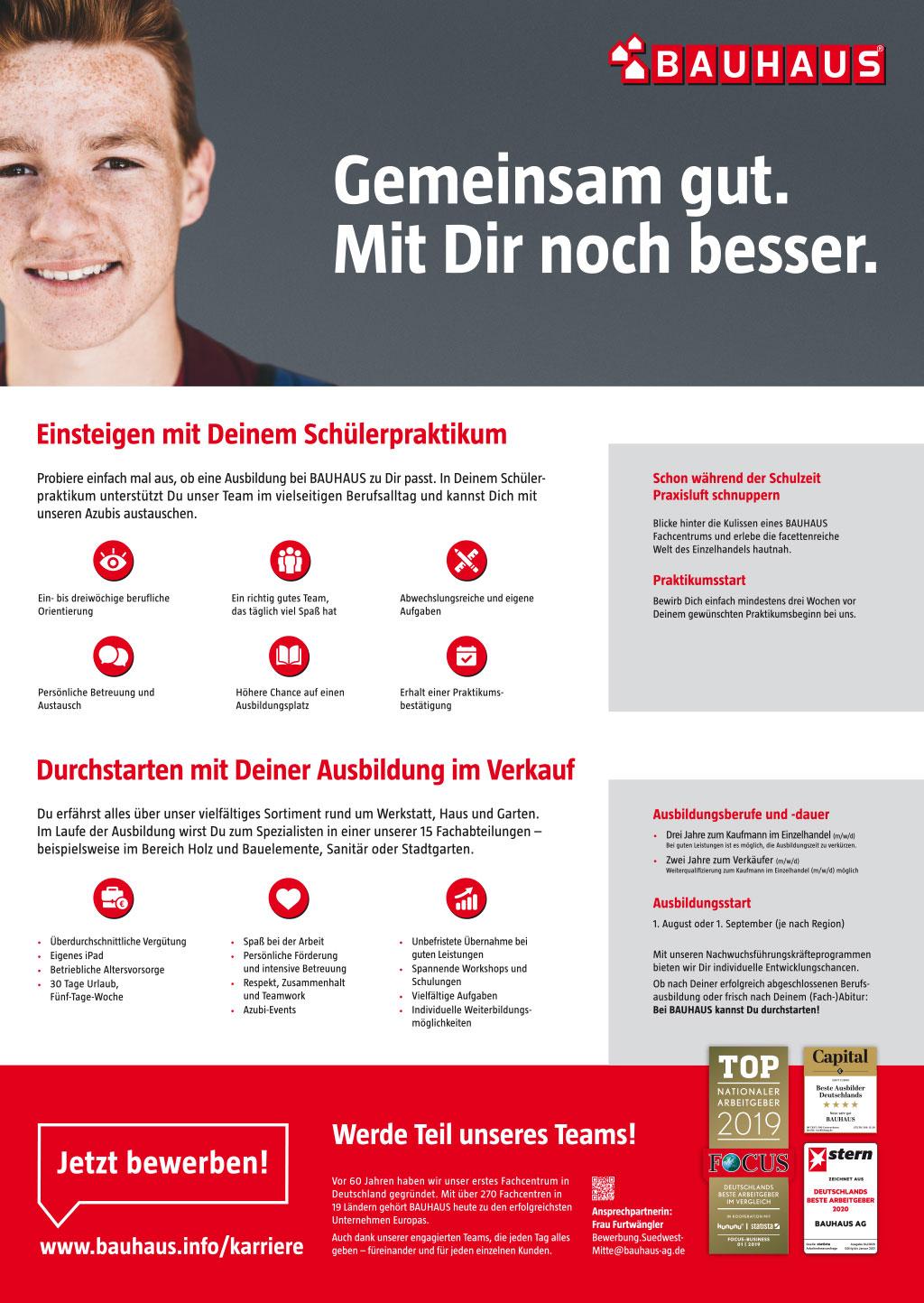 Ausbildungsplakat: BAUHAUS GmbH & Co. KG Hessen