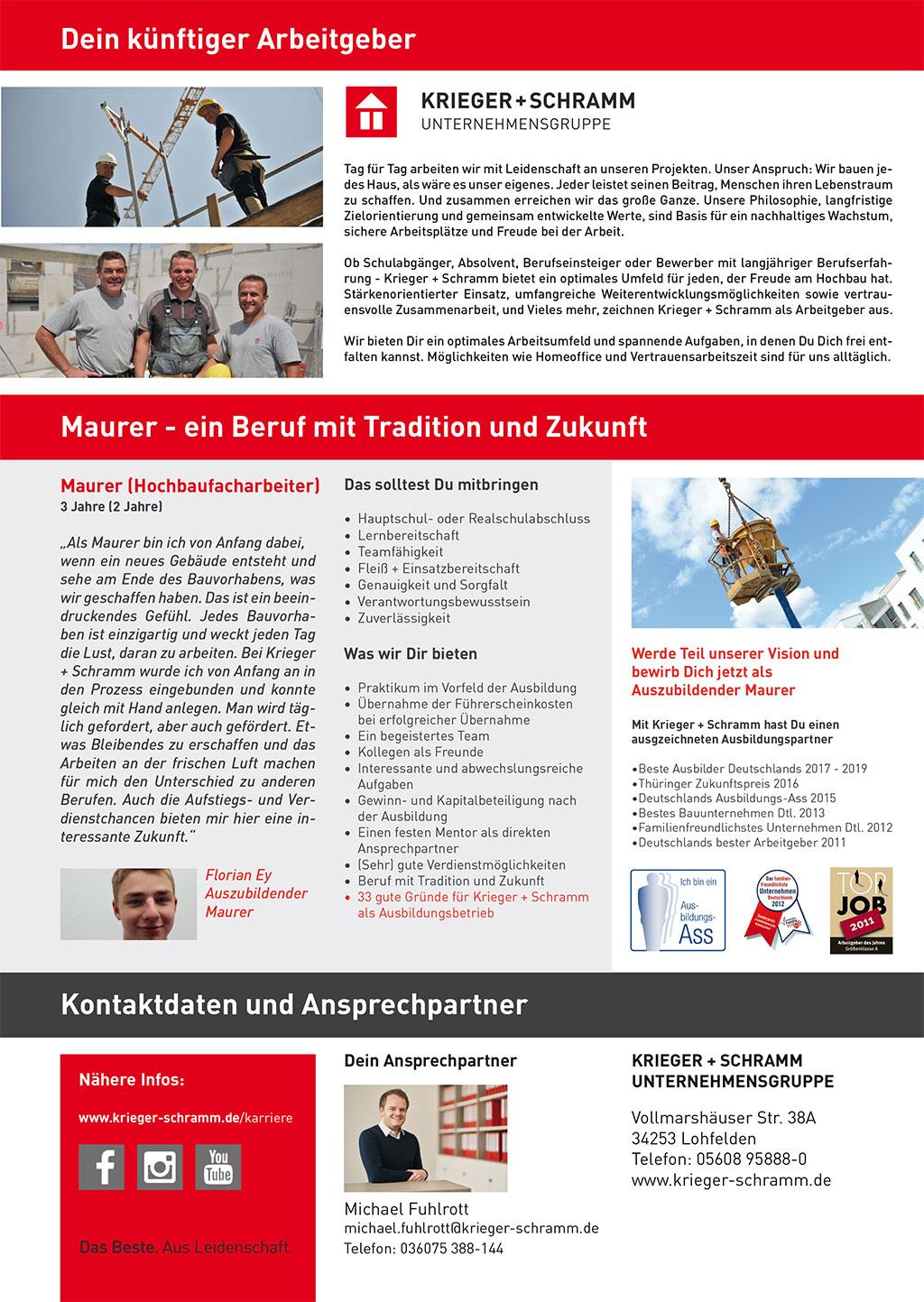 Ausbildungsplakat: Krieger + Schramm GmbH & Co. KG