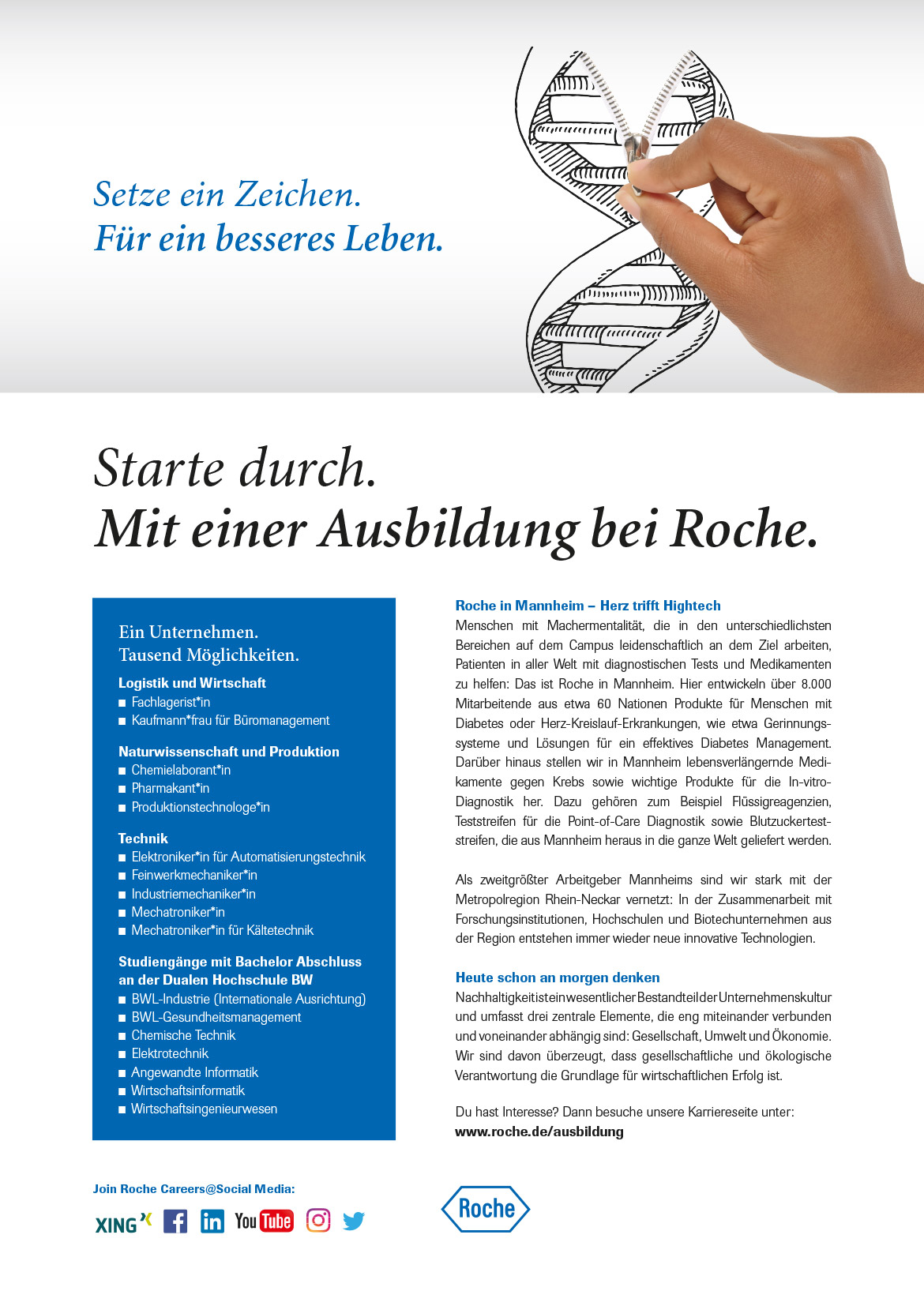 Ausbildungsplakat: Roche Diagnostics GmbH