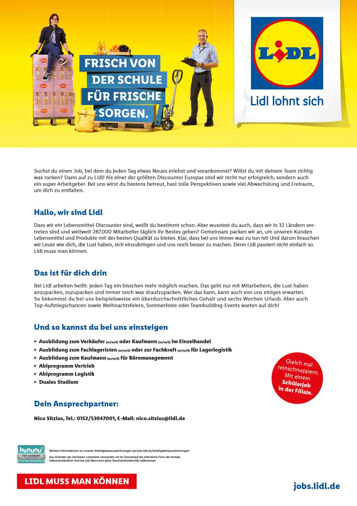 Ausbildungsplakat: LIDL Wöllstein