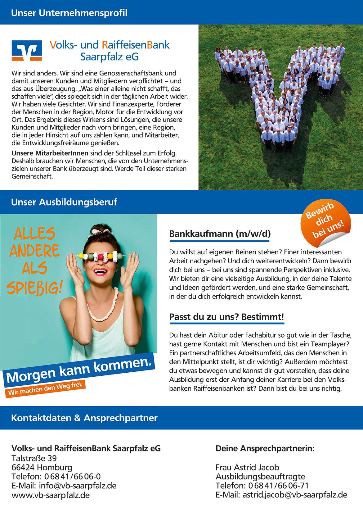 Ausbildungsplakat: Volks- und RaiffeisenBank Saarpfalz
