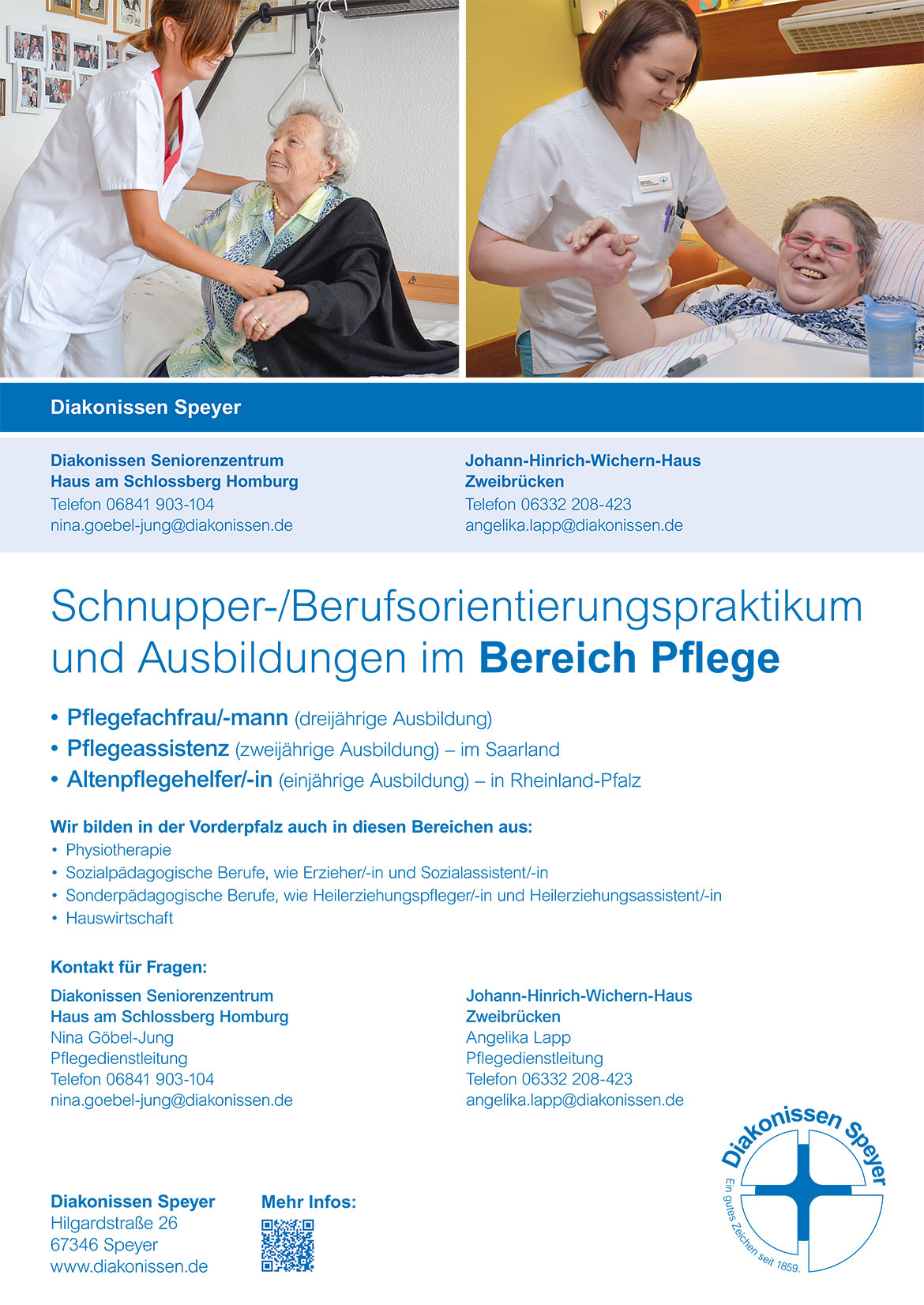 Ausbildungsplakat: Diakonissen Speyer Homburg