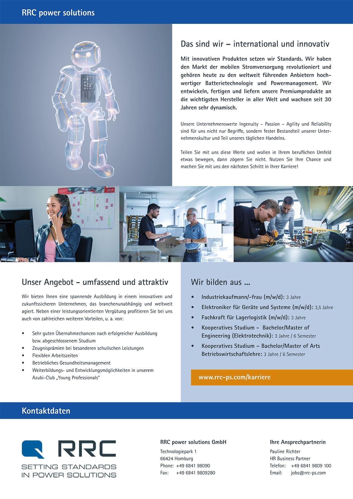 Ausbildungsplakat: RRC power solutions