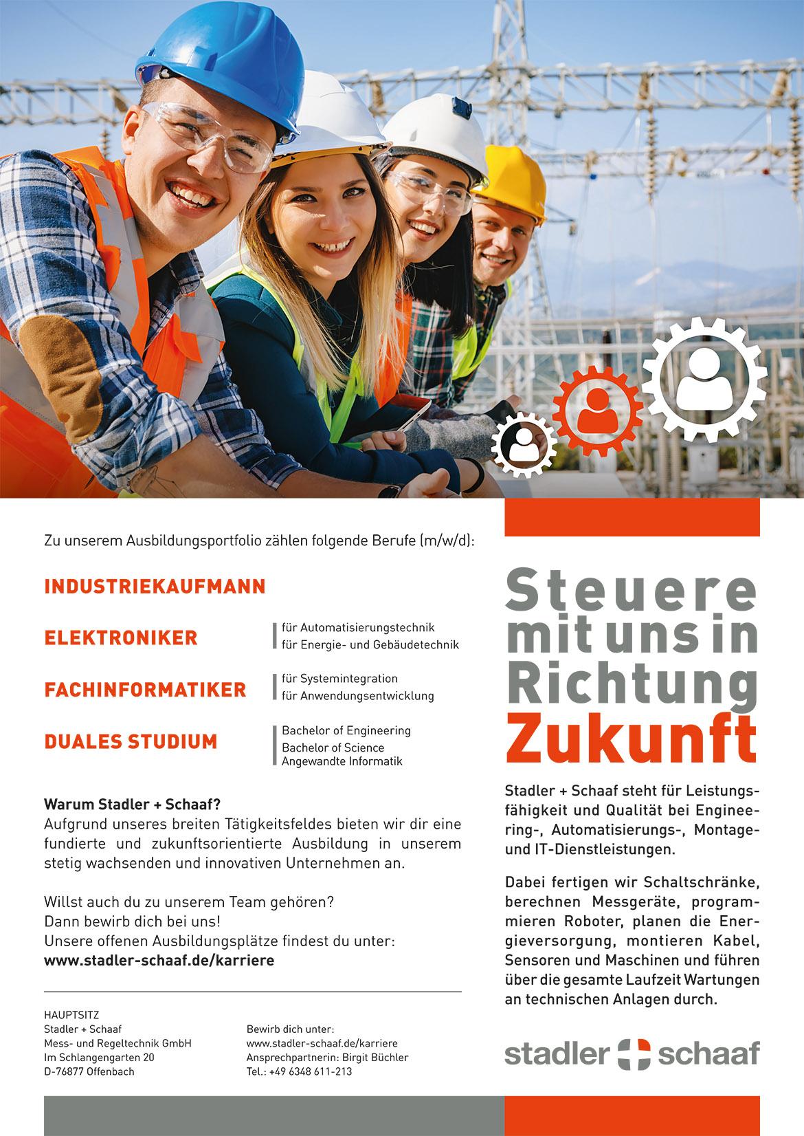 Ausbildungsplakat: Stadler + Schaaf Mess- und Regeltechnik GmbH