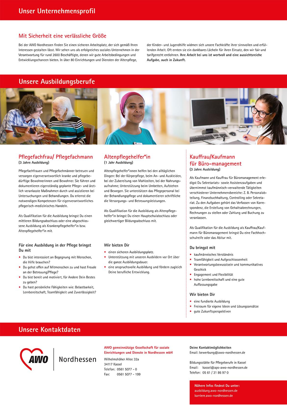 Ausbildungsplakat: AWO Nordhessen