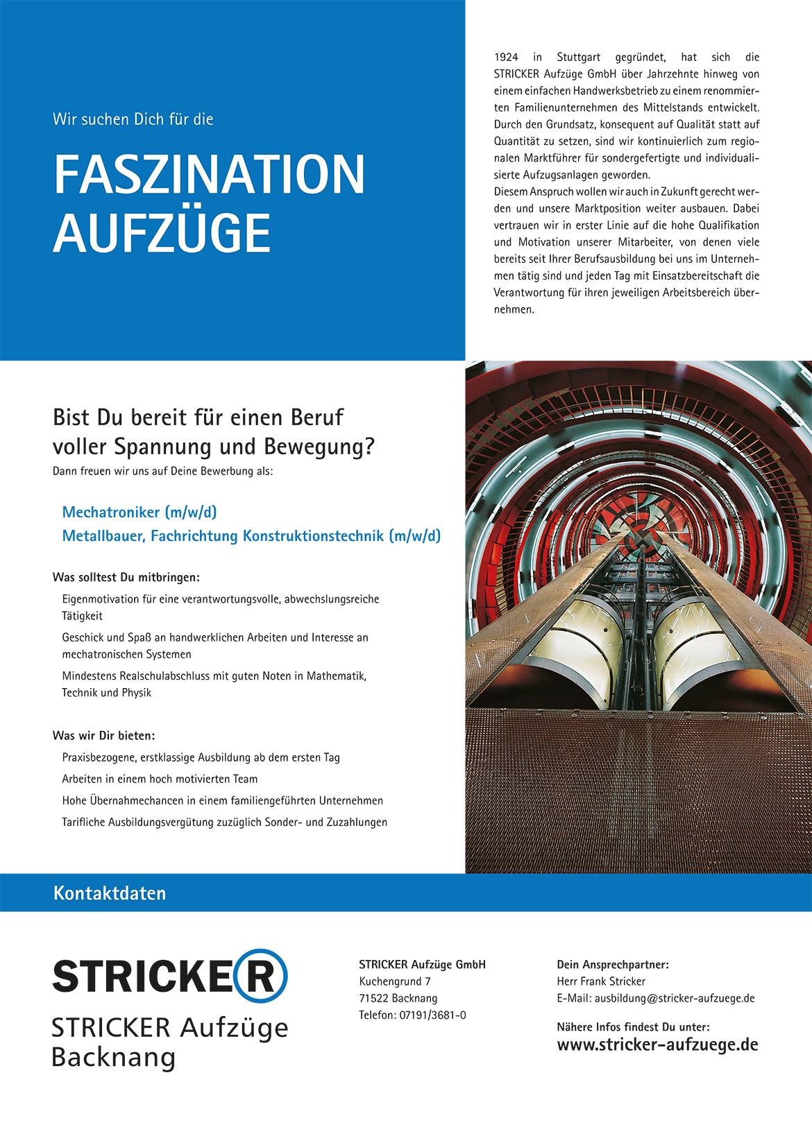 Ausbildungsplakat: STRICKER Aufzüge GmbH