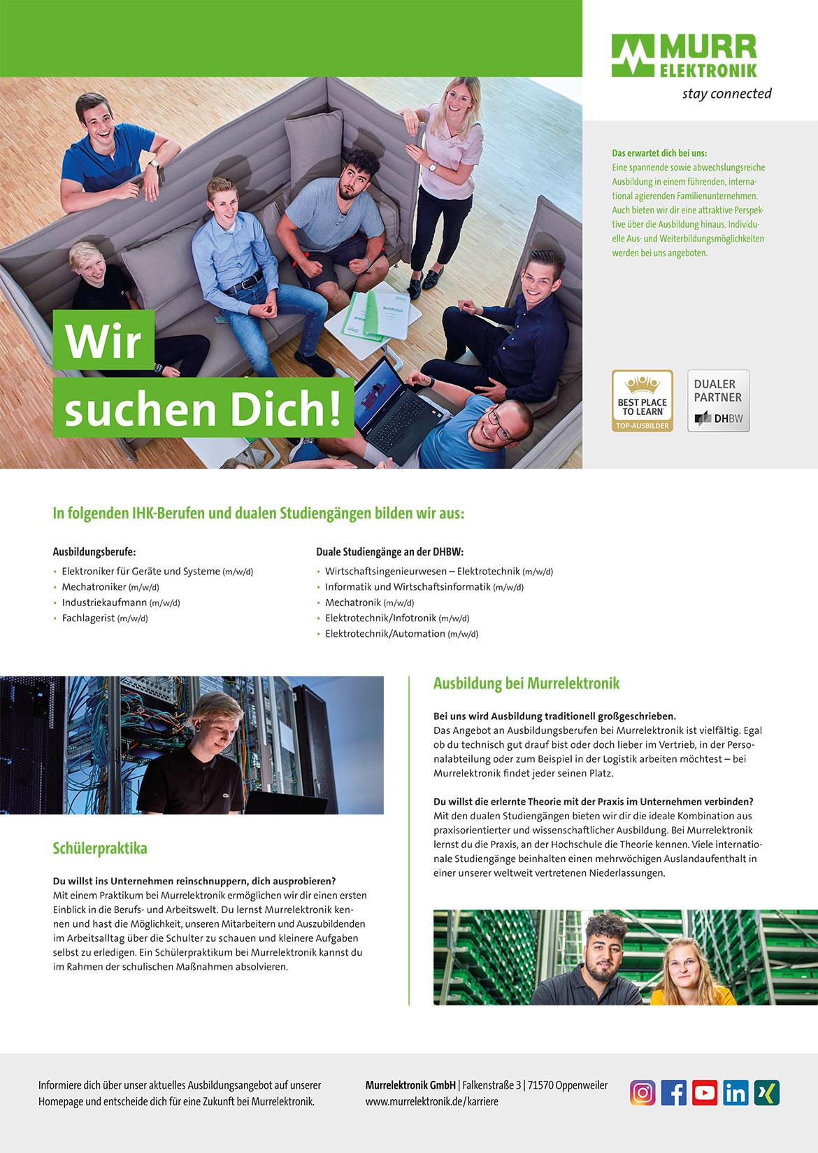 Ausbildungsplakat: Murrelektronik GmbH