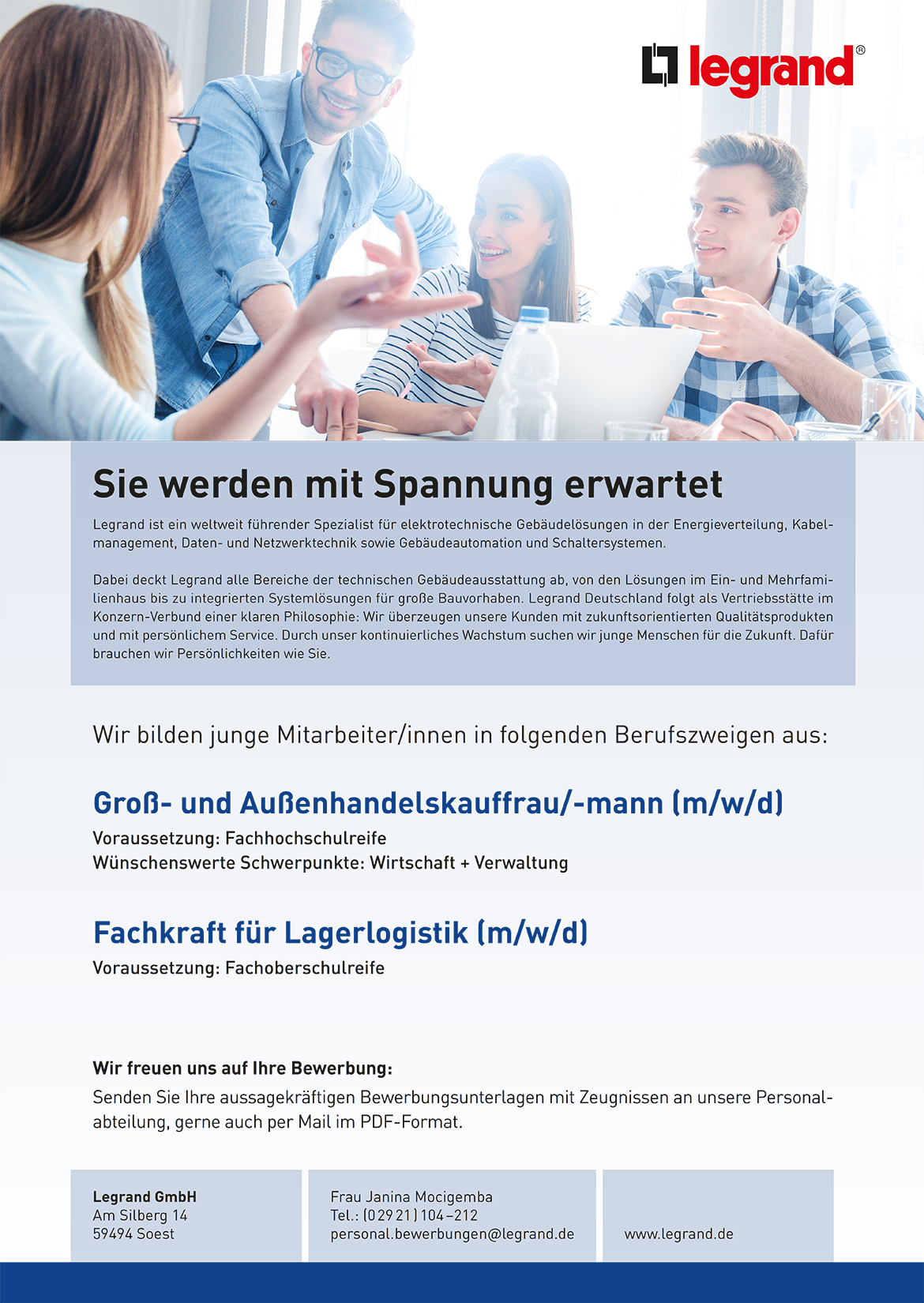 Ausbildungsplakat: Legrand GmbH