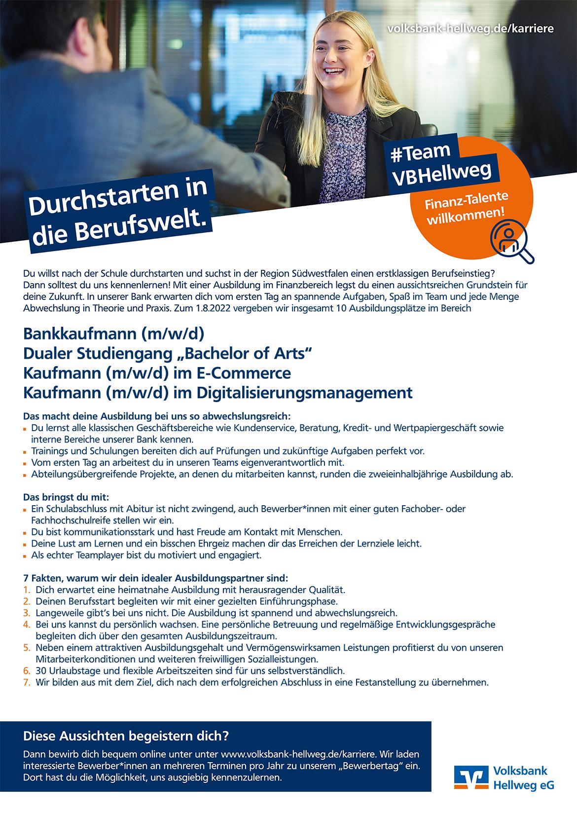 Ausbildungsplakat: Volksbank Hellweg eG