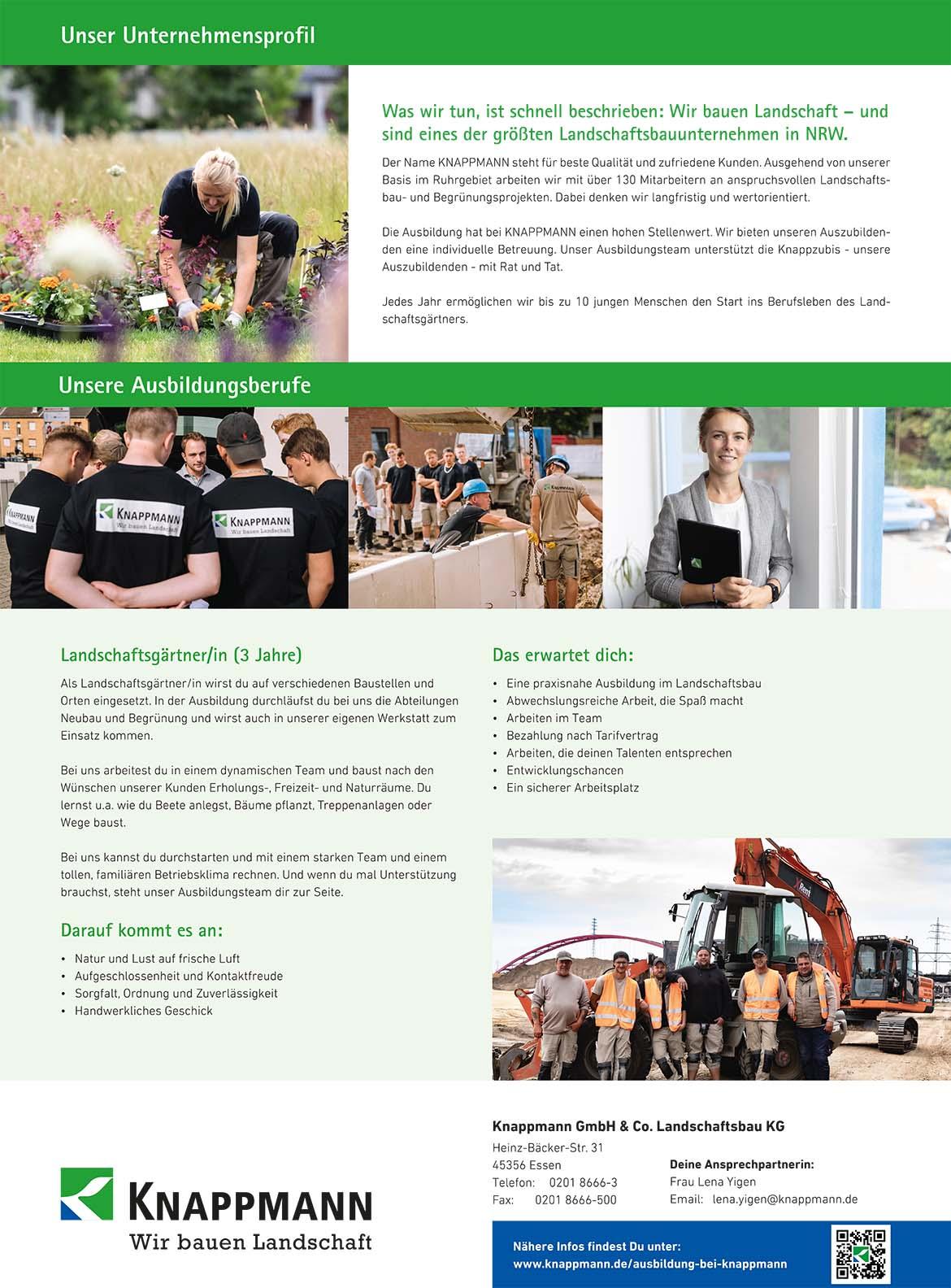 Ausbildungsplakat: Knappmann GmbH & Co. Landschaftsbau KG
